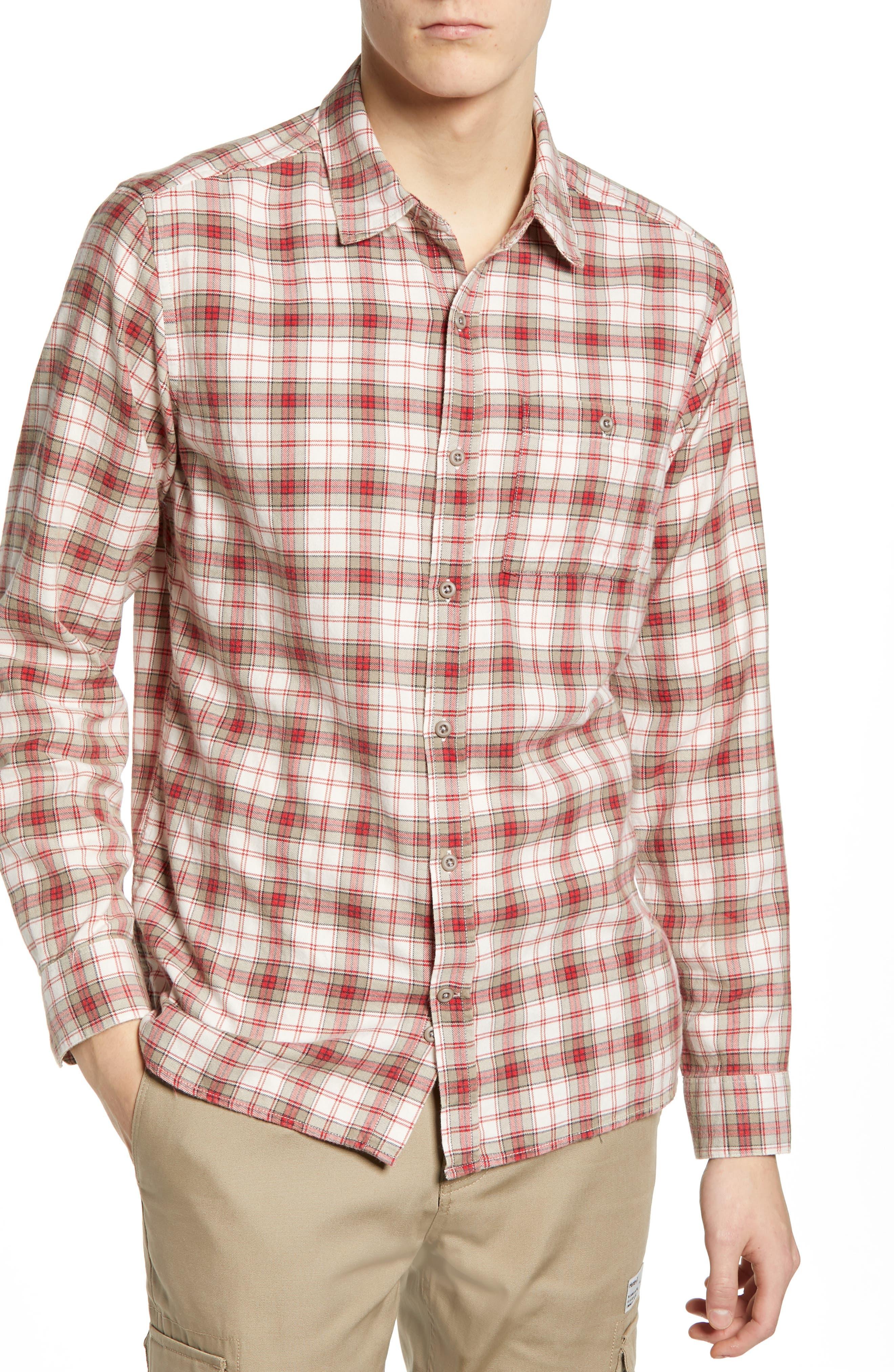 Hurley Ranger Plaid Cotton Flannel Sport Shirt, Red