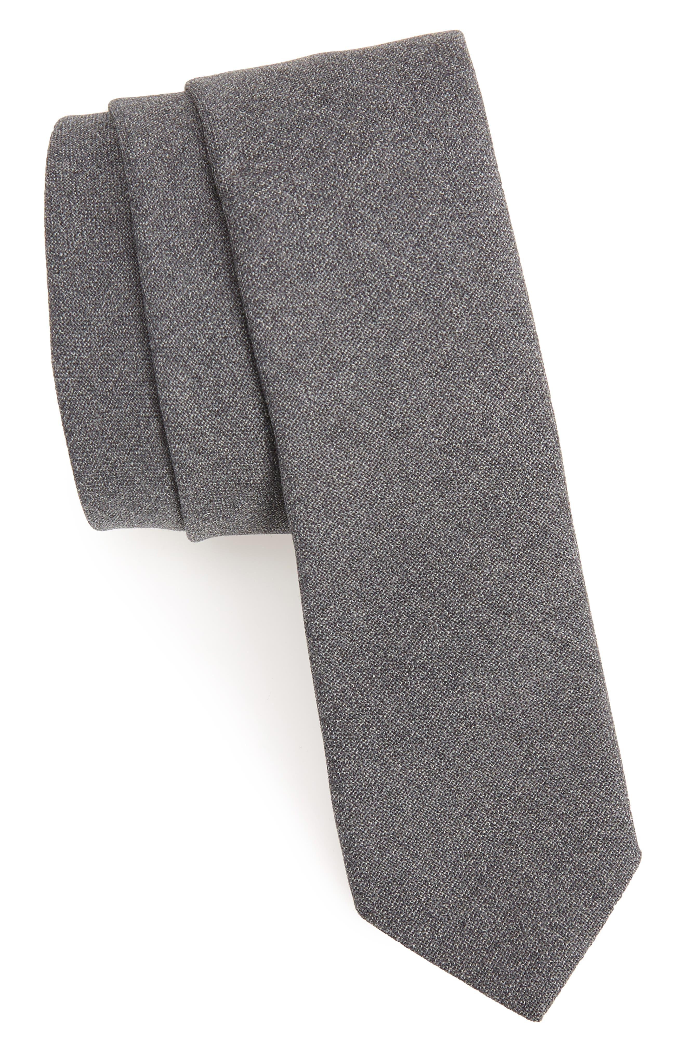 Jaspé Wool Skinny Tie,                             Main thumbnail 2, color,