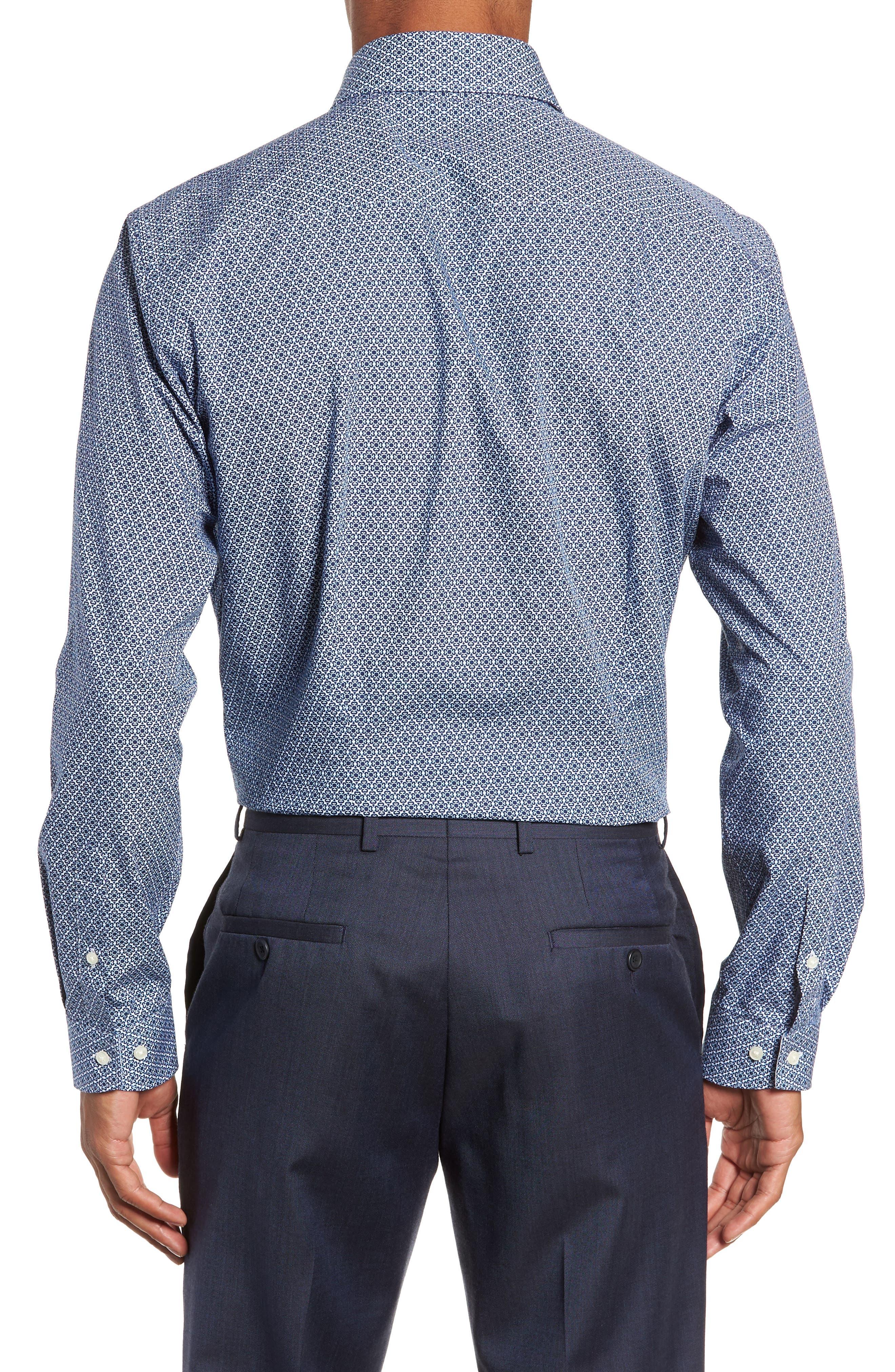 Slestmi Slim Fit Print Dress Shirt,                             Alternate thumbnail 3, color,                             BLUE