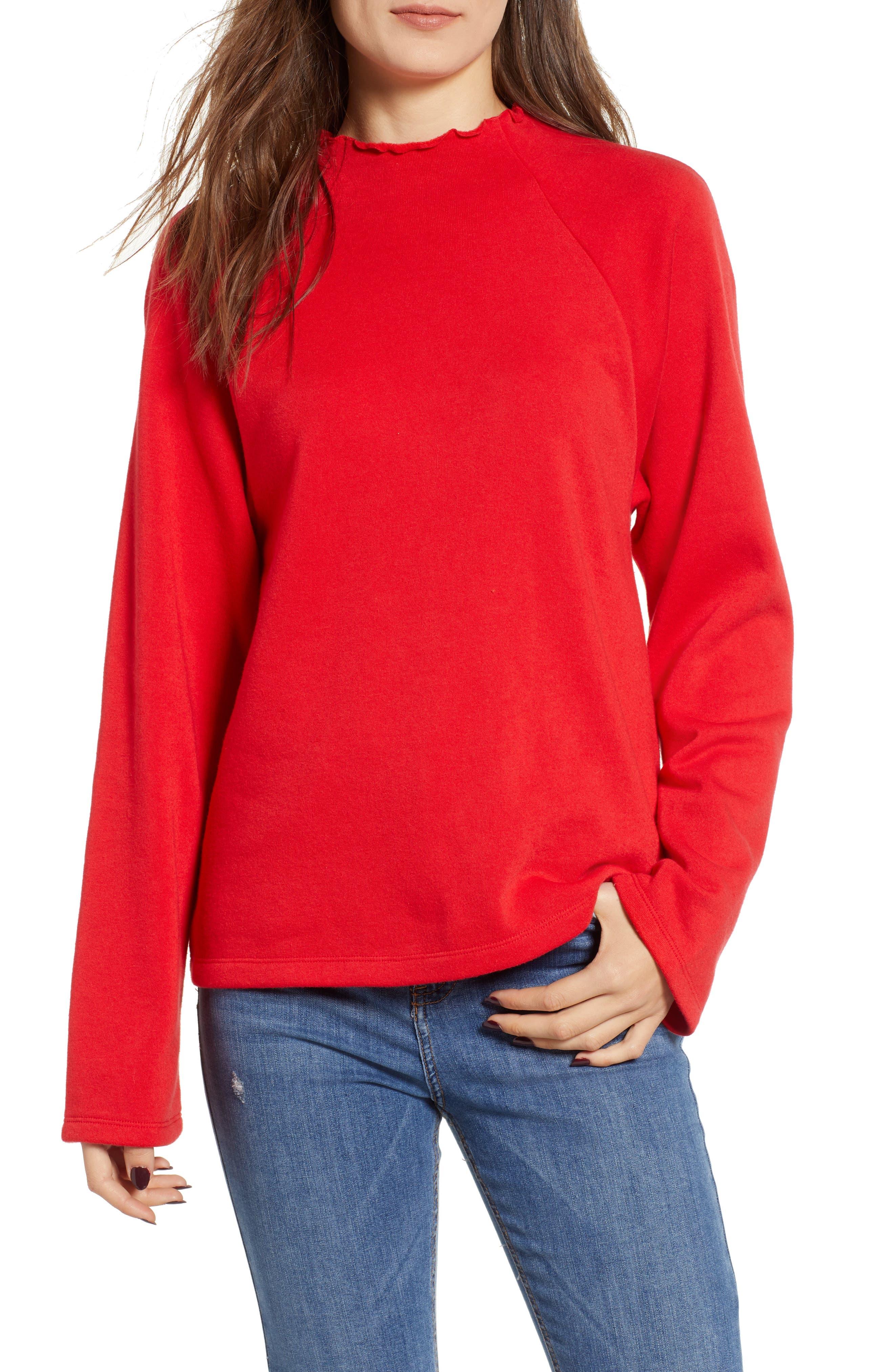 Bp. Lettuce Hem Fleece Pullover, Red