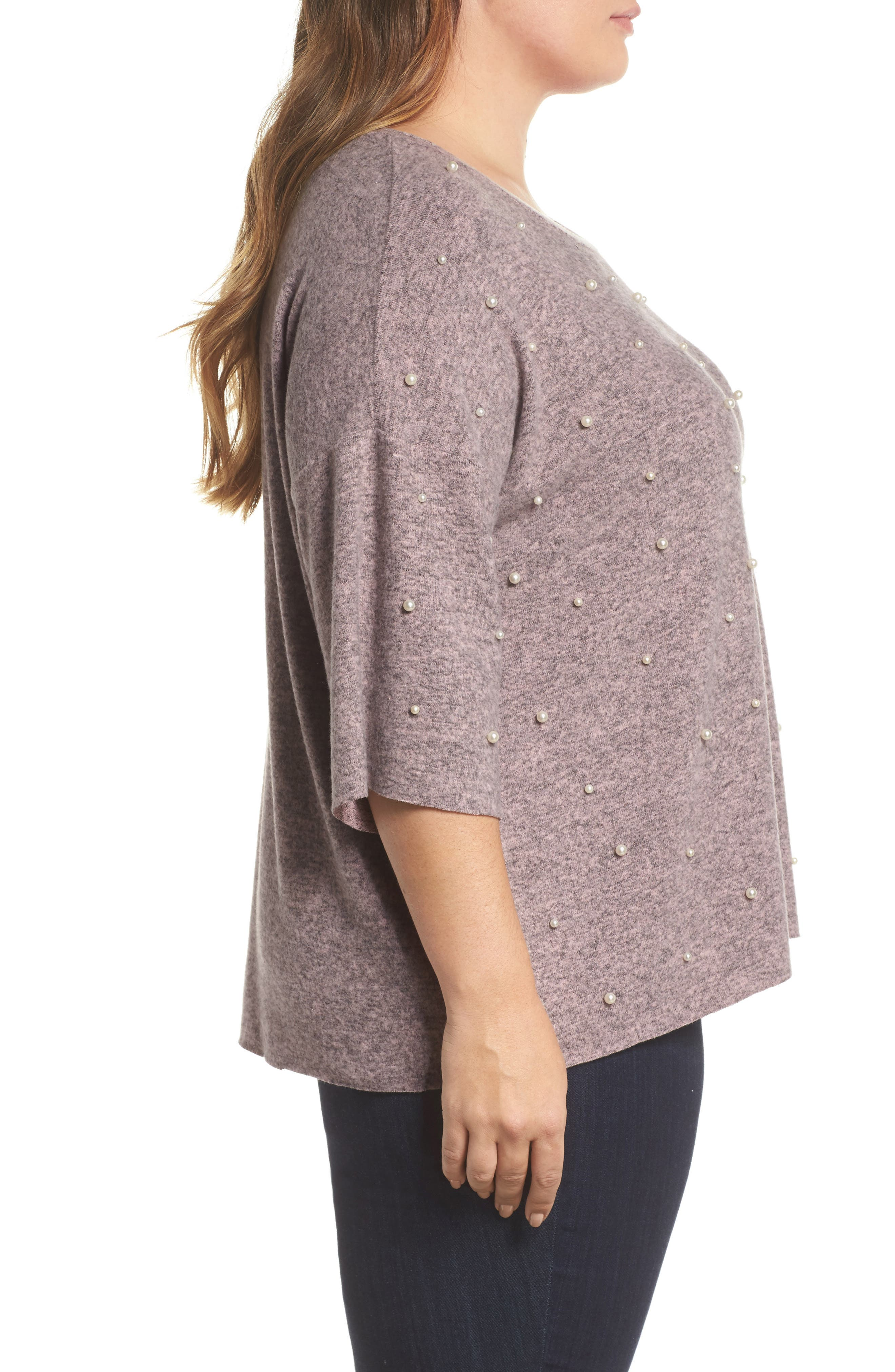 Pearl Embellished Sweater,                             Alternate thumbnail 3, color,                             020