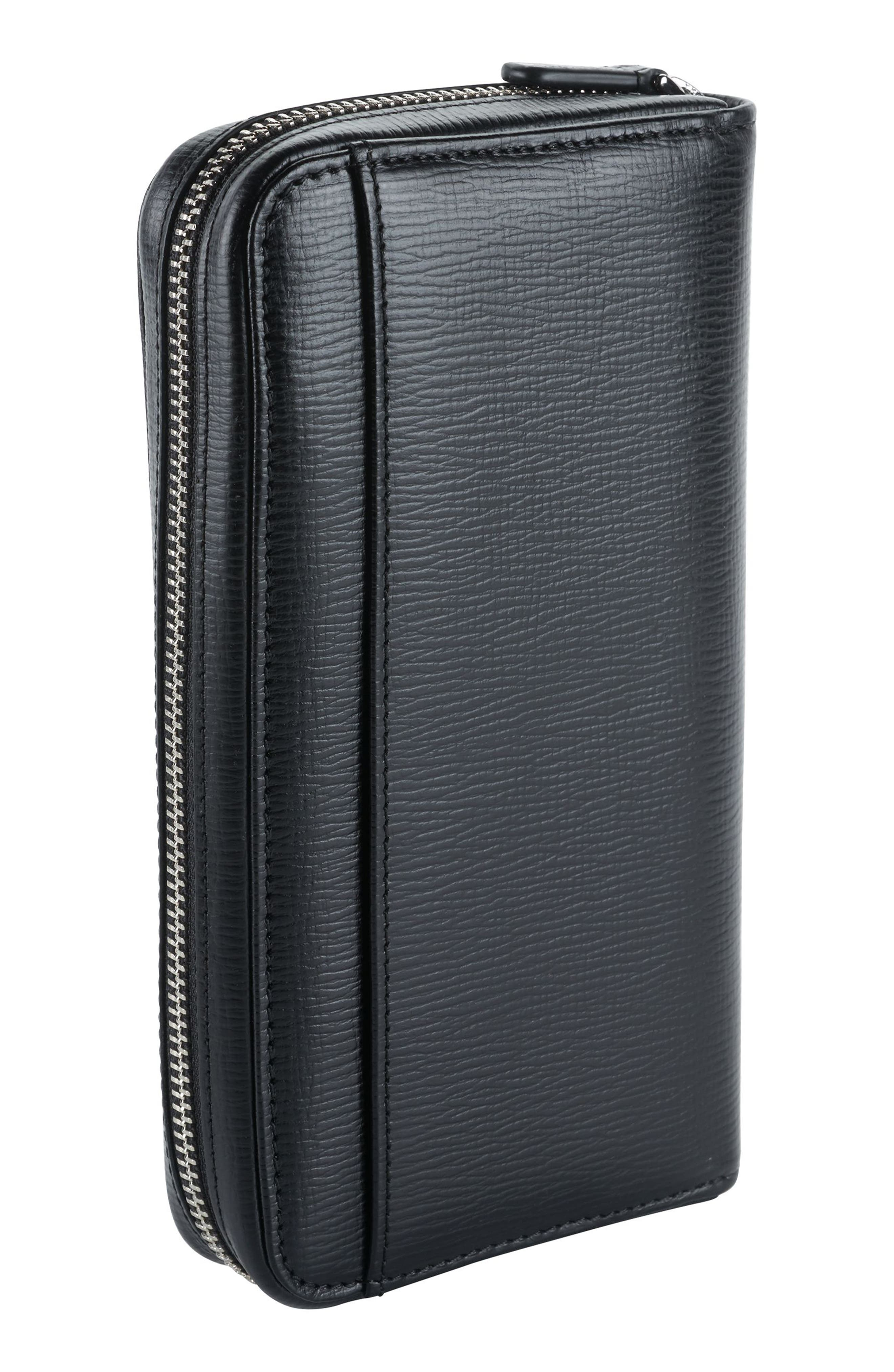 Zip-Around Leather Travel Wallet,                             Alternate thumbnail 2, color,                             BLACK TEXTURED