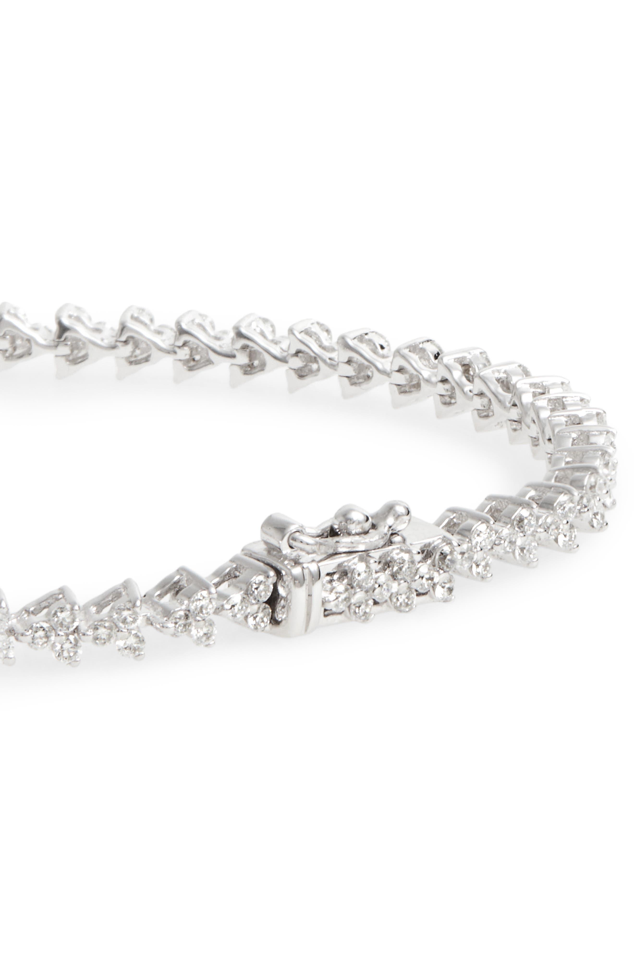 Liora Diamond Tennis Bracelet,                             Alternate thumbnail 4, color,                             WHITE GOLD