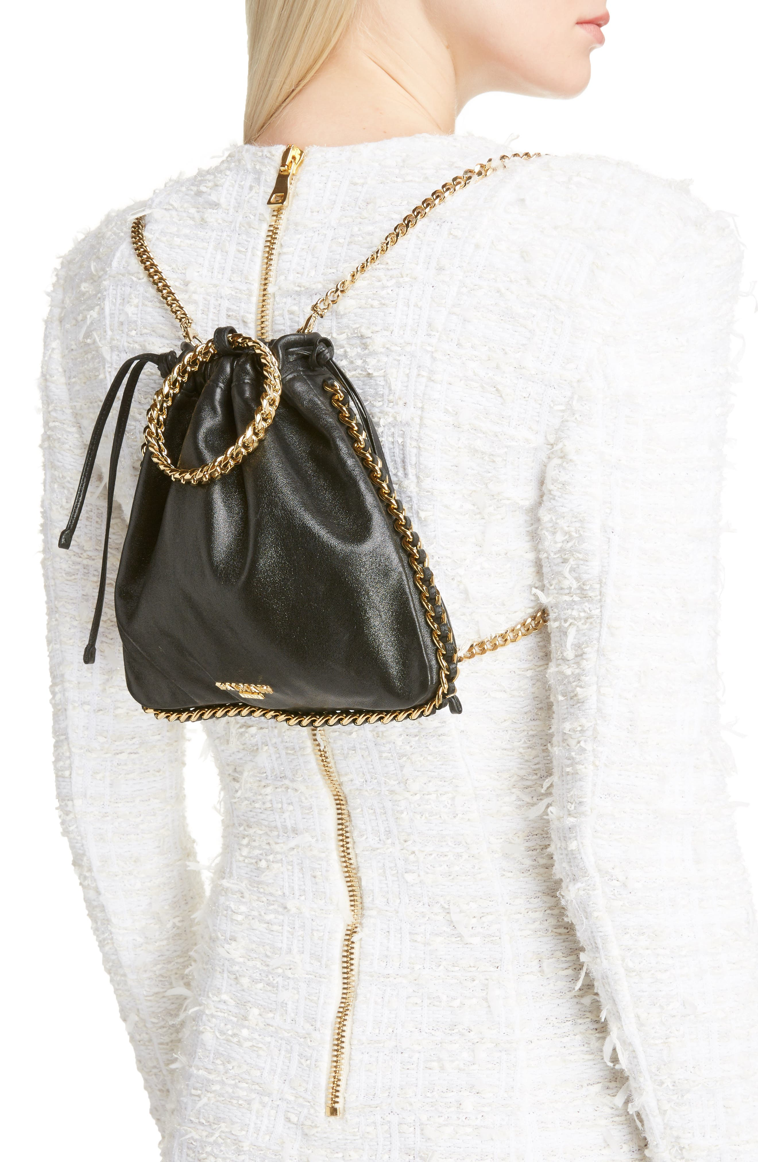 Leather Bracelet Backpack,                             Alternate thumbnail 2, color,                             NOIR