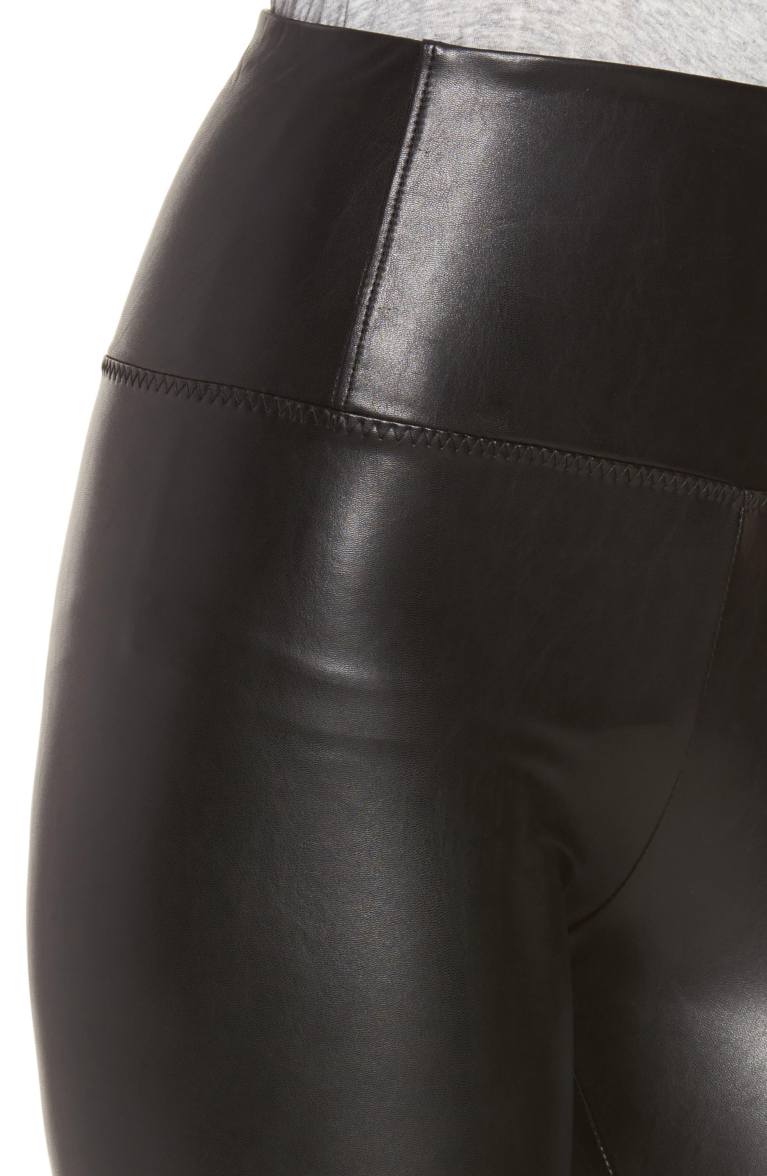 Elliot High Waist Faux Leather Leggings,                             Alternate thumbnail 4, color,                             001