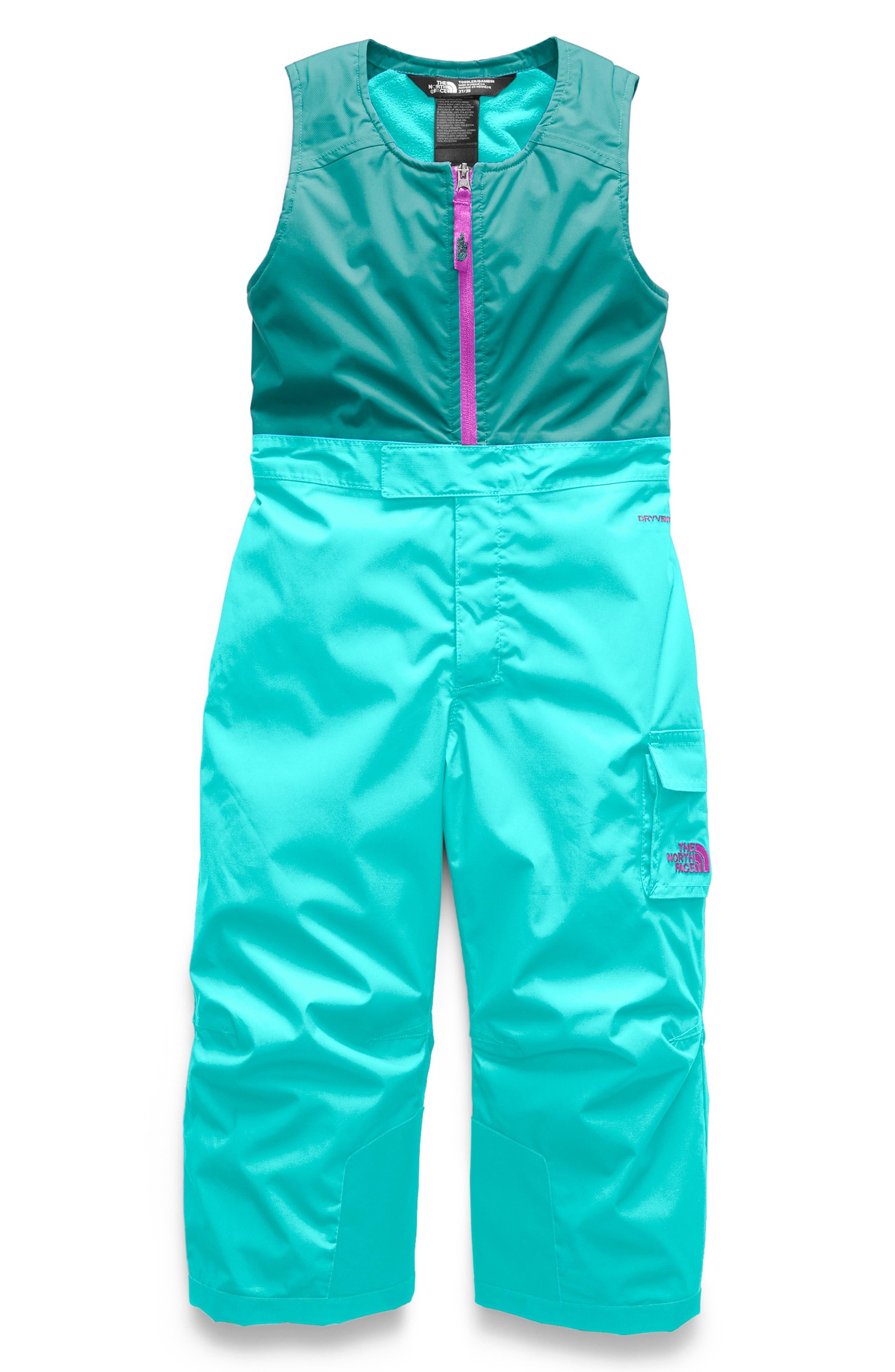 Waterproof Heatseeker<sup>™</sup> Insulated Bib Snowsuit,                         Main,                         color, MINT BLUE