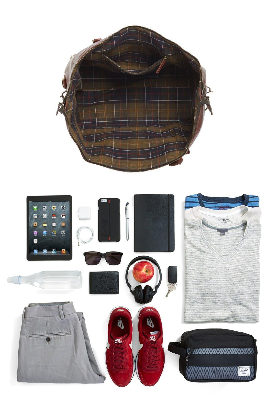 Leather Travel Bag,                             Alternate thumbnail 4, color,                             DARK BROWN