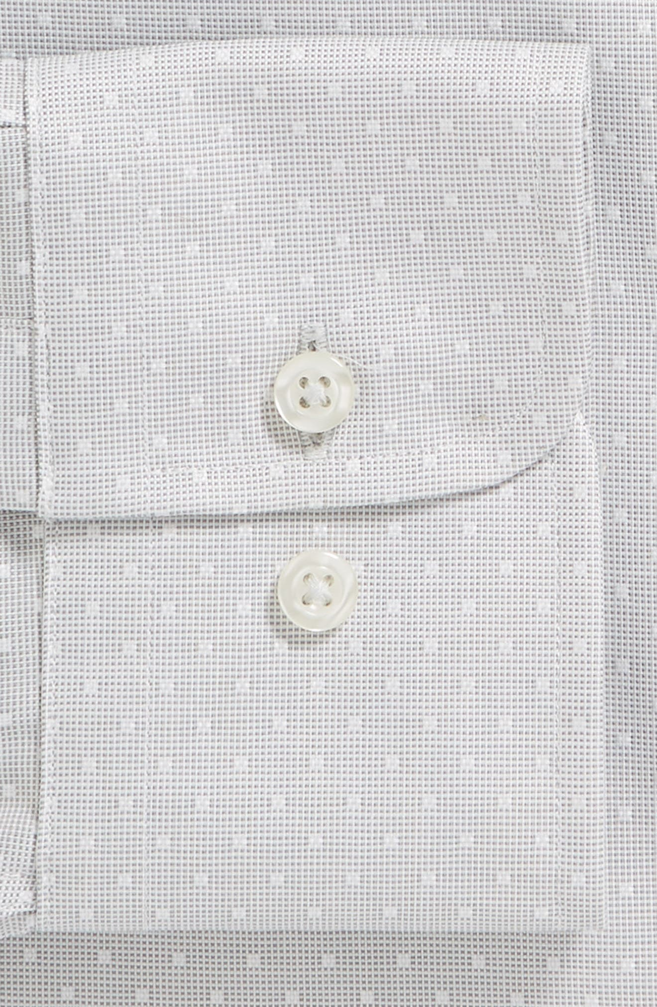 Slim Fit Dot Dress Shirt,                             Alternate thumbnail 6, color,                             GRAY