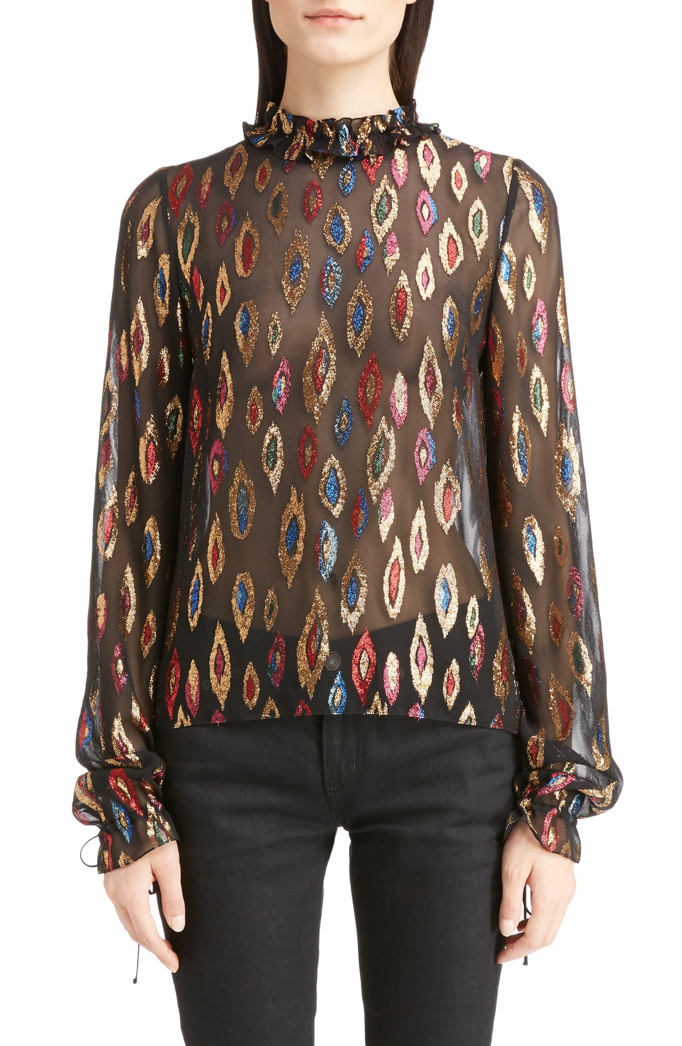 Flame Fil Coupé Silk Blouse,                         Main,                         color, 001