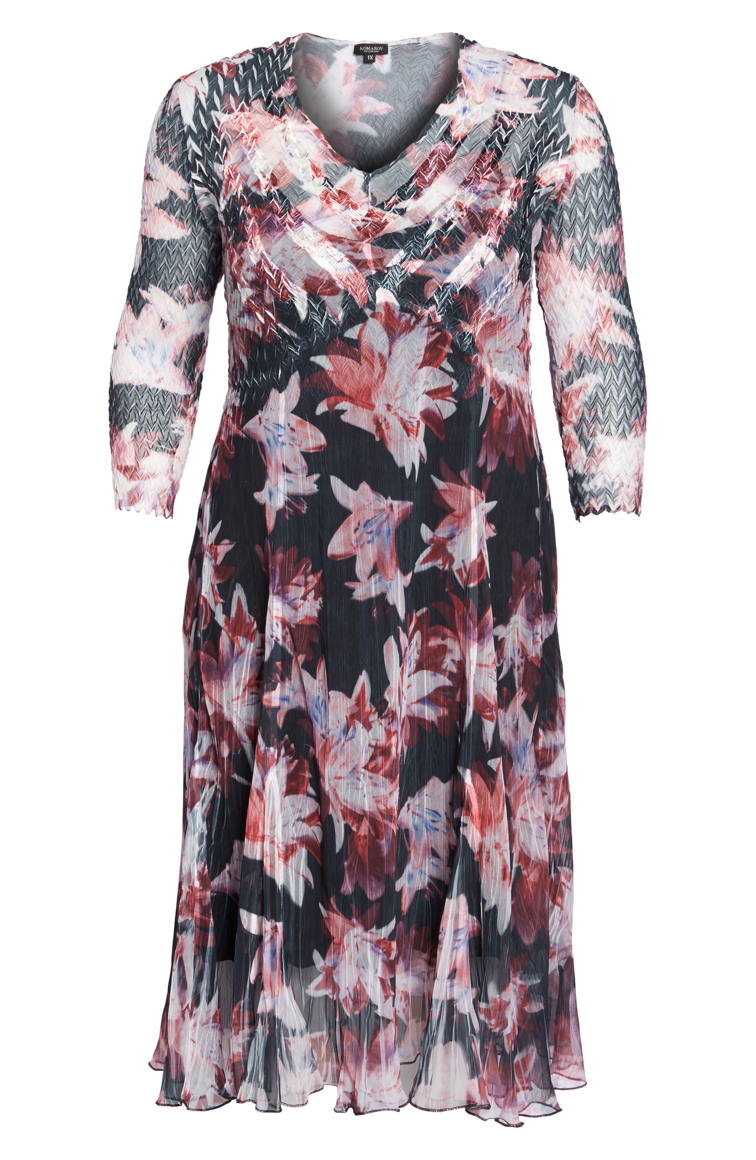 Chiffon & Charmeuse A-Line Dress,                             Alternate thumbnail 6, color,                             014