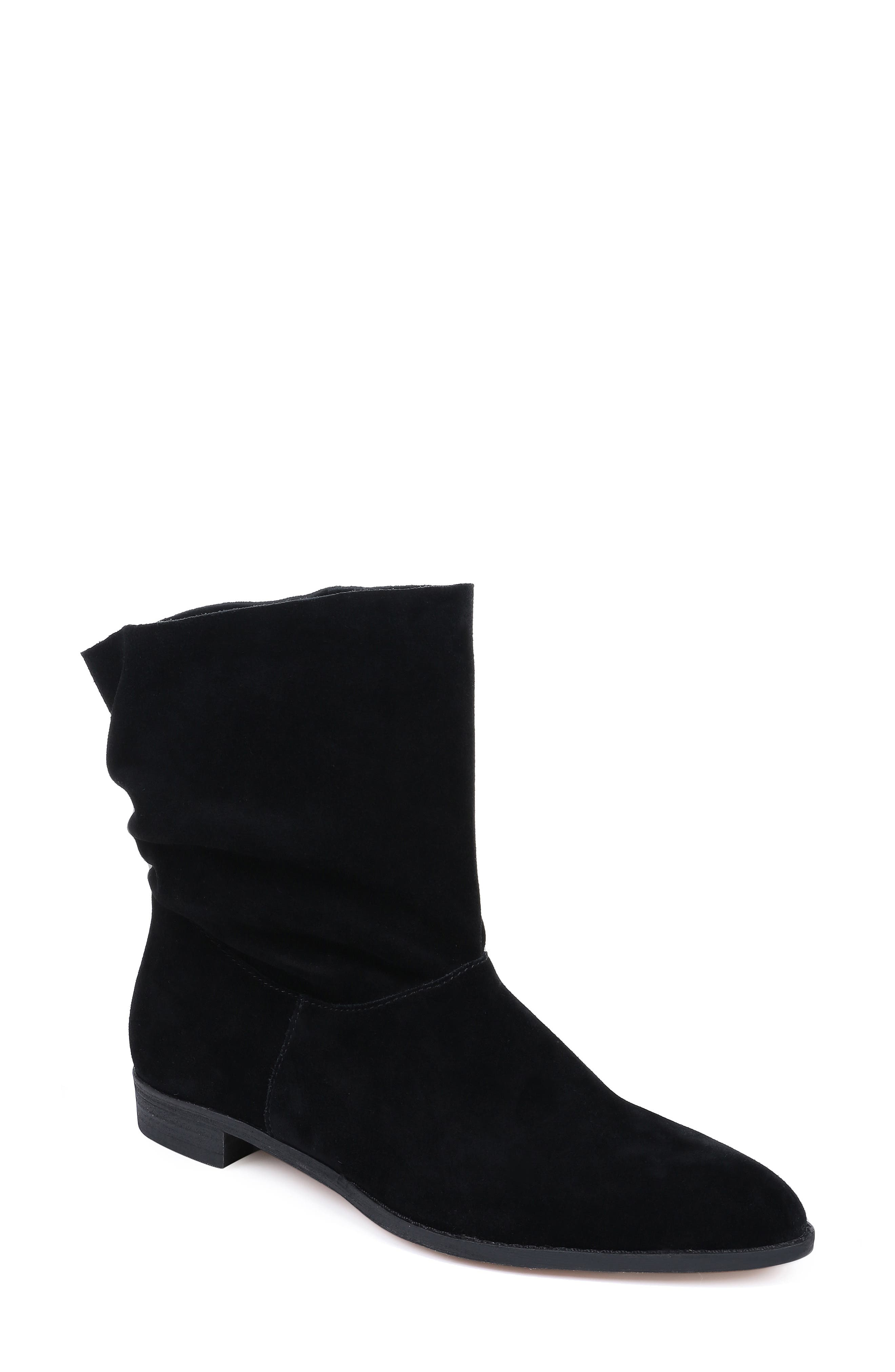 Claudia Slouch Bootie in Black Suede