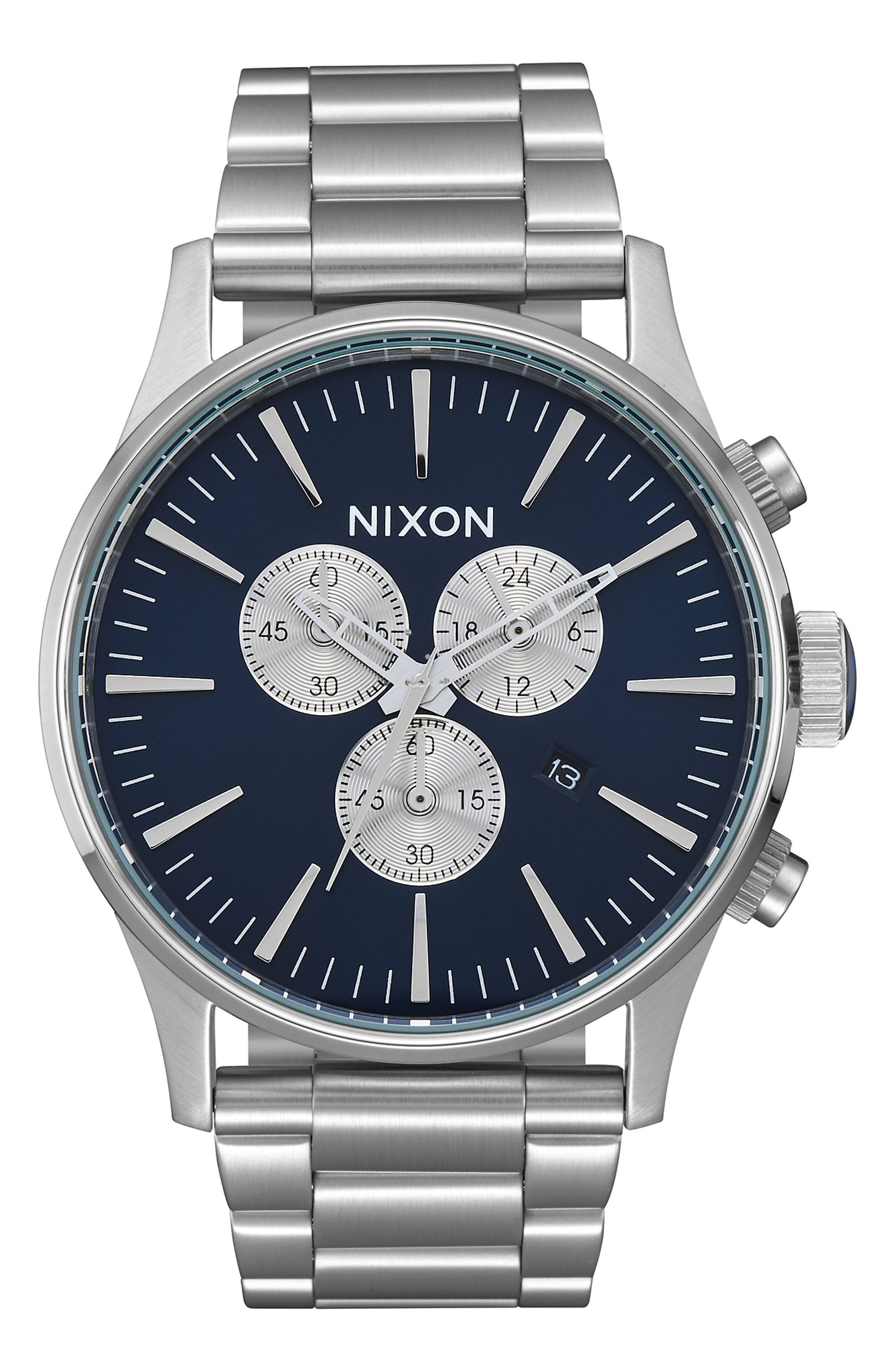The Sentry Chronograph Bracelet Watch, 42mm,                         Main,                         color, SILVER/ BLUE/ SILVER