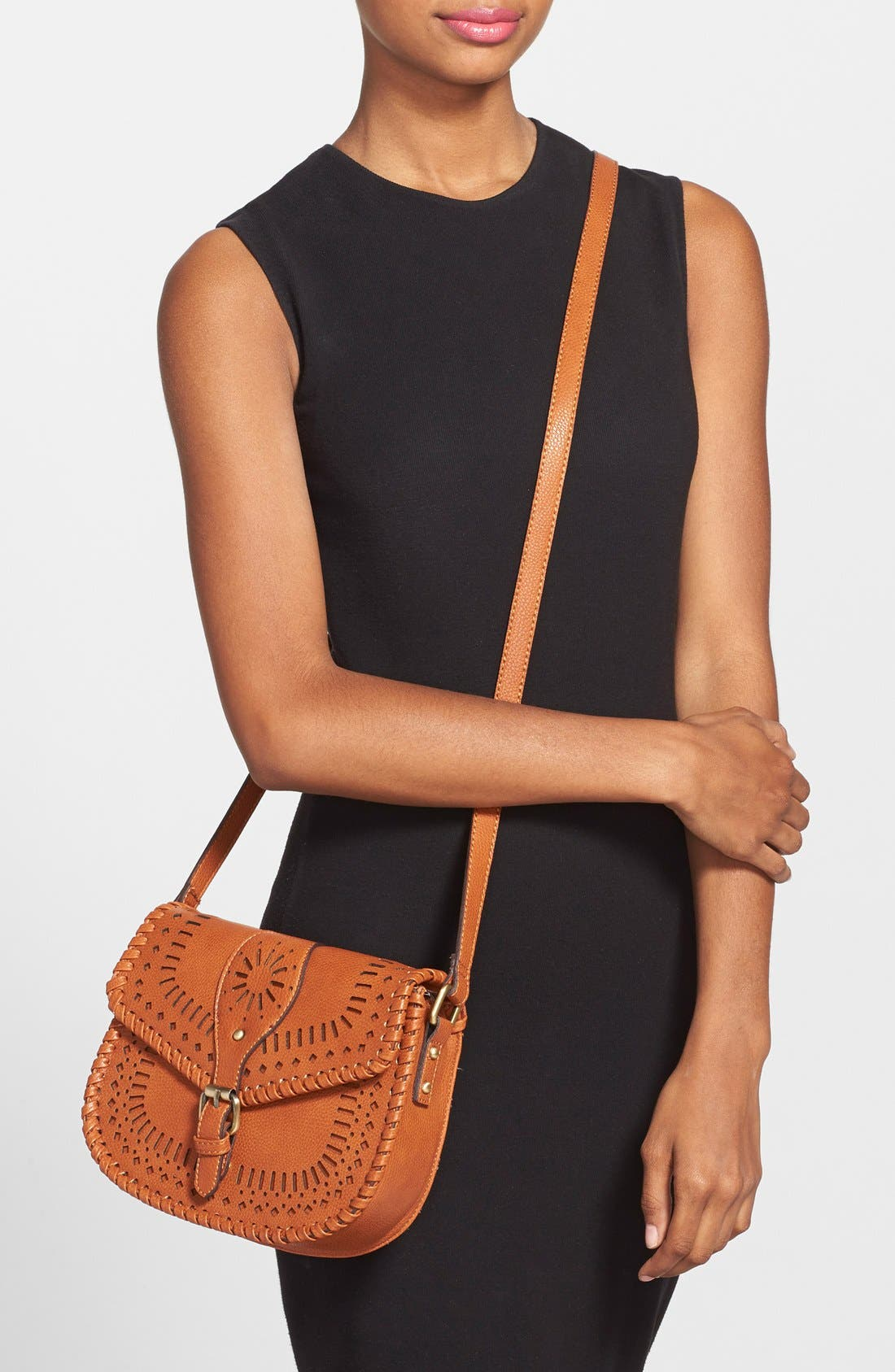'Kianna' Perforated Faux Leather Crossbody Bag,                             Alternate thumbnail 16, color,