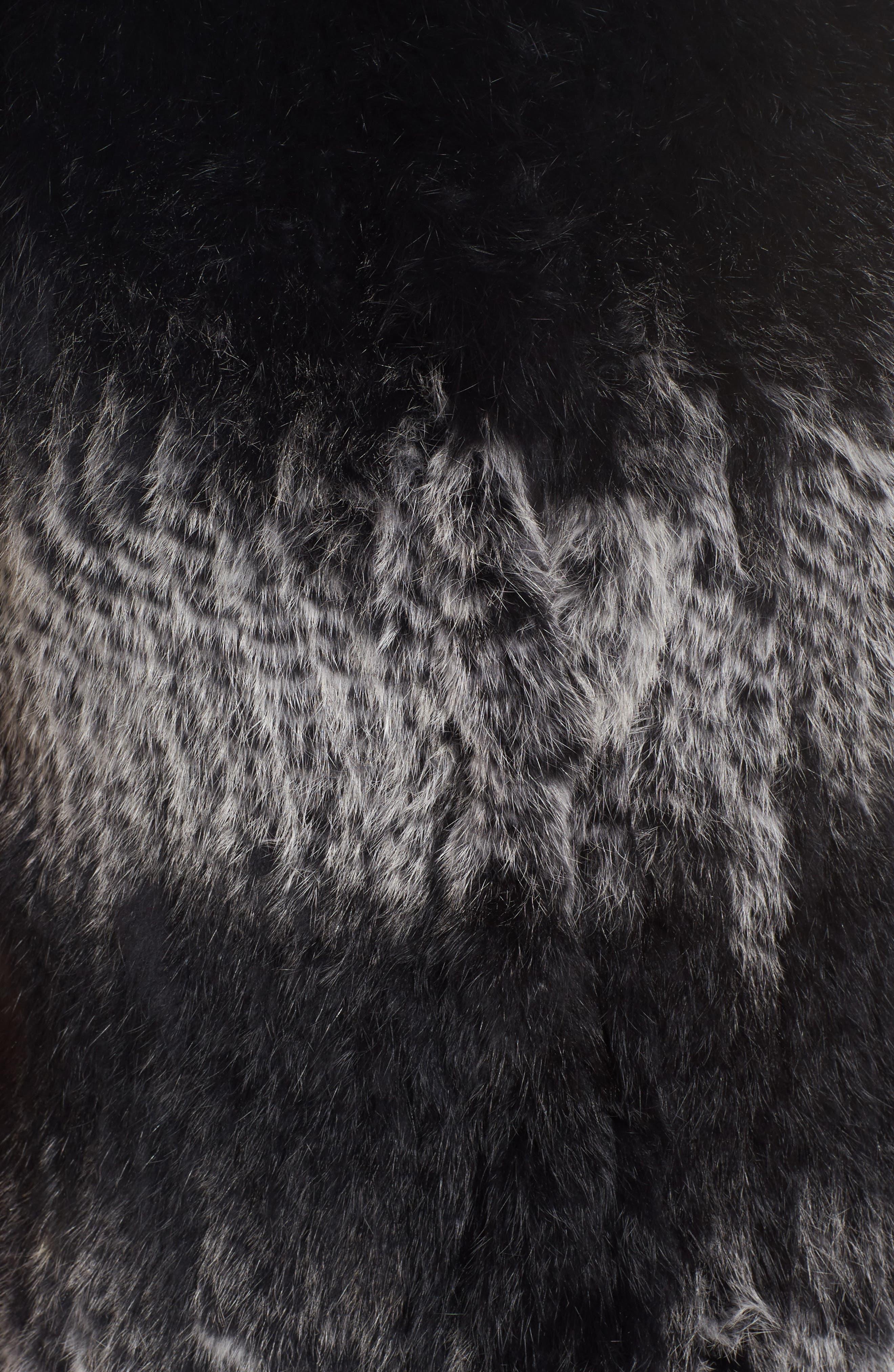 Stripe Genuine Rabbit Fur Vest,                             Alternate thumbnail 6, color,                             962
