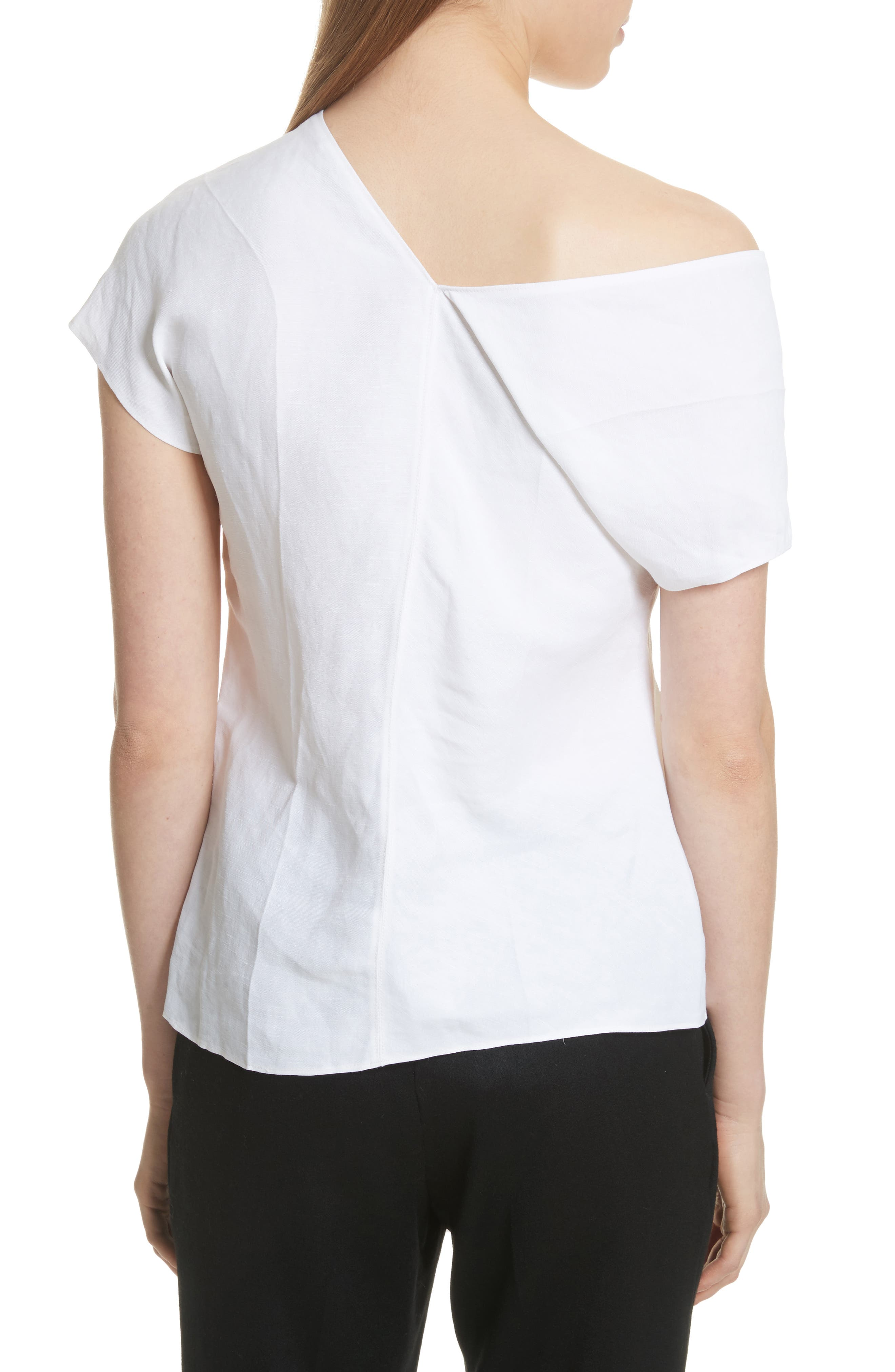 One-Shoulder Linen Blend Top,                             Alternate thumbnail 2, color,                             157