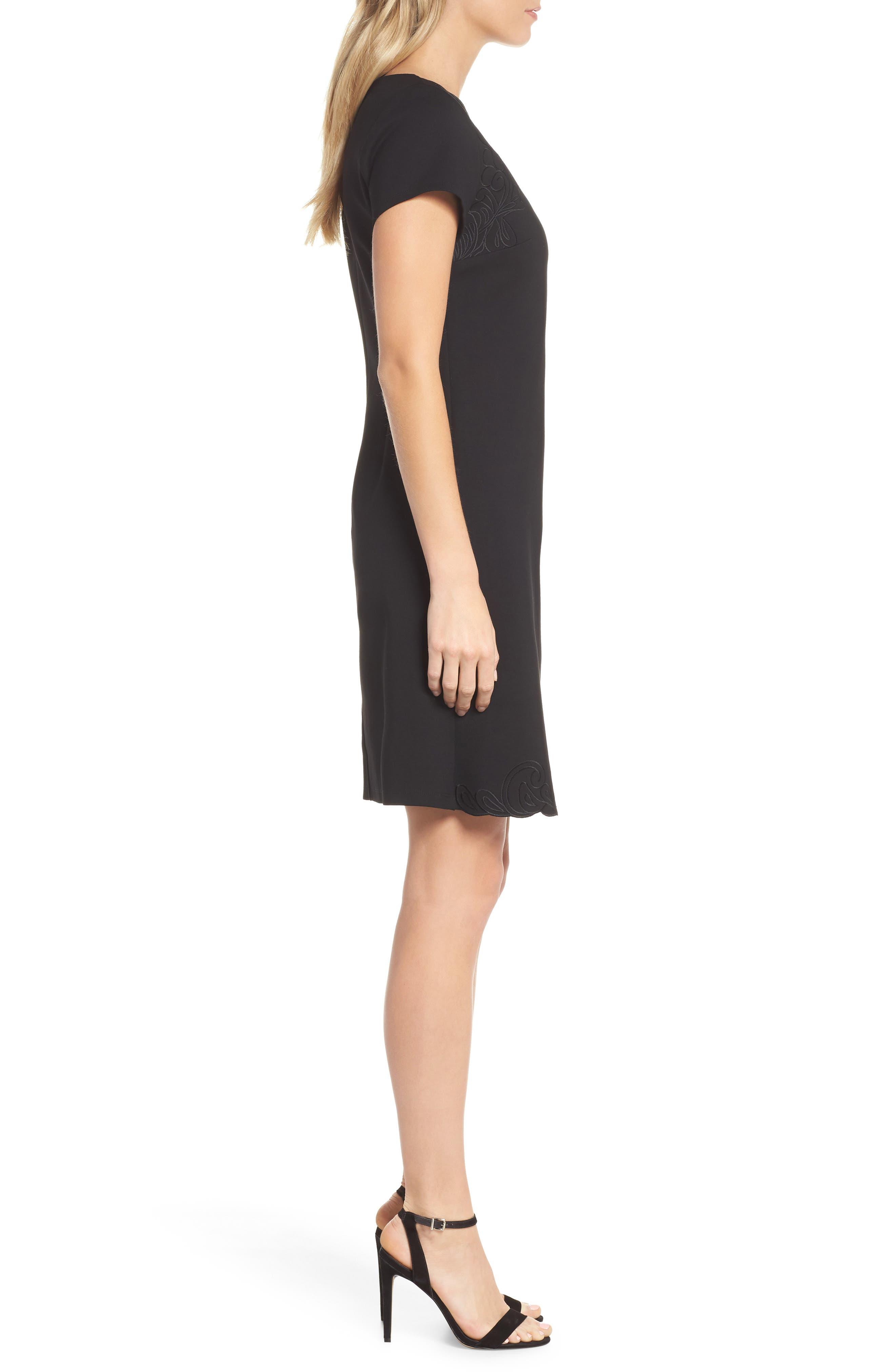 KOBI HALPERIN,                             Tavi Cutout Neckline Dress,                             Alternate thumbnail 3, color,                             001