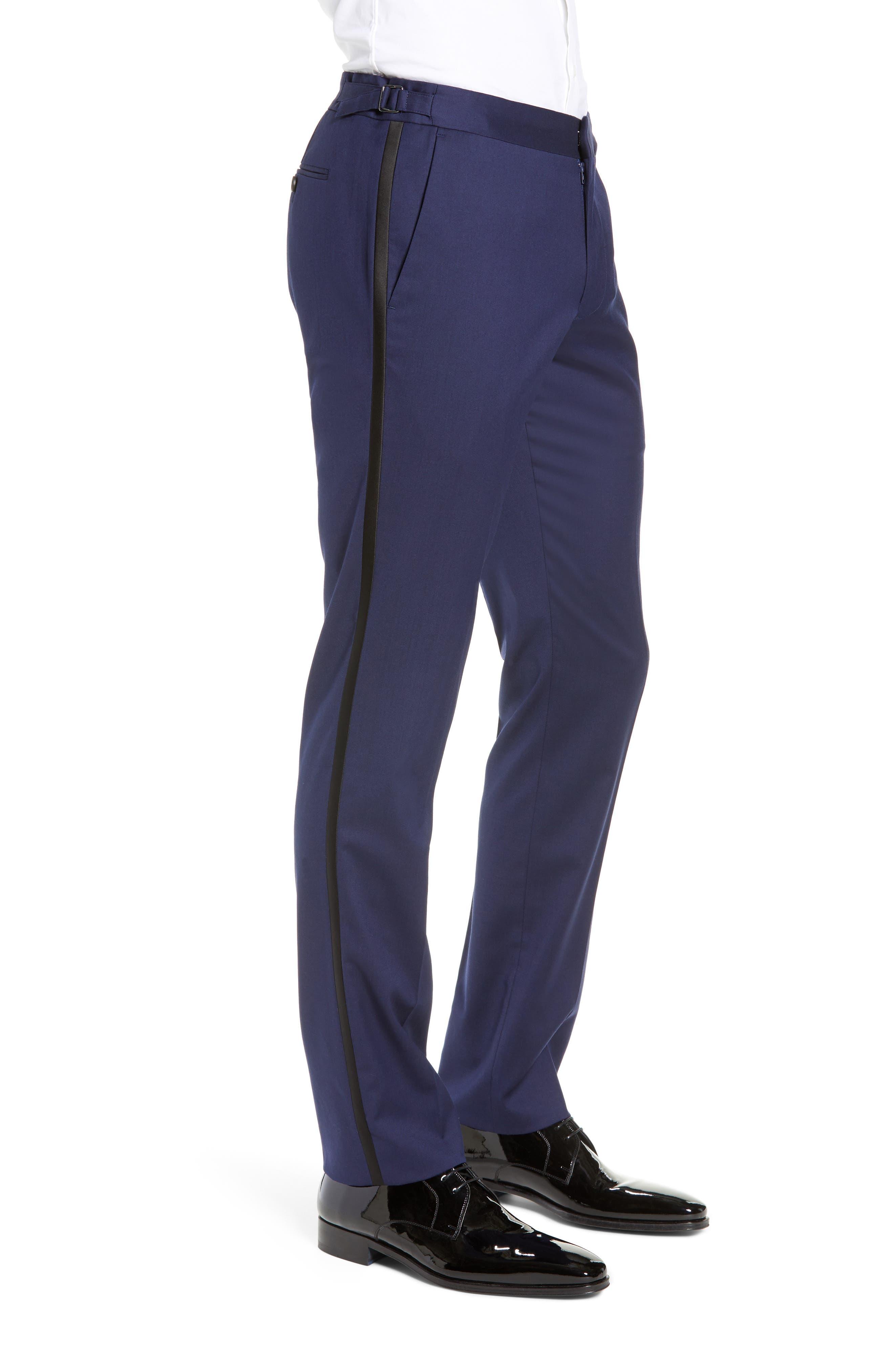 Capstone Slim Fit Tuxedo Trousers,                             Alternate thumbnail 3, color,                             NAVY
