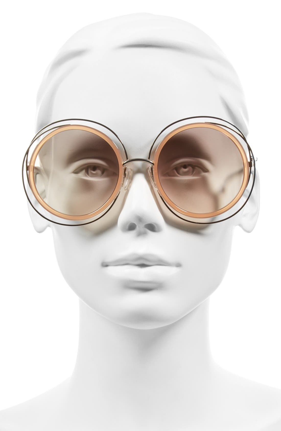 'Carlina' 58mm Round Sunglasses,                             Alternate thumbnail 2, color,                             GOLD/ TRANSPARENT PEACH