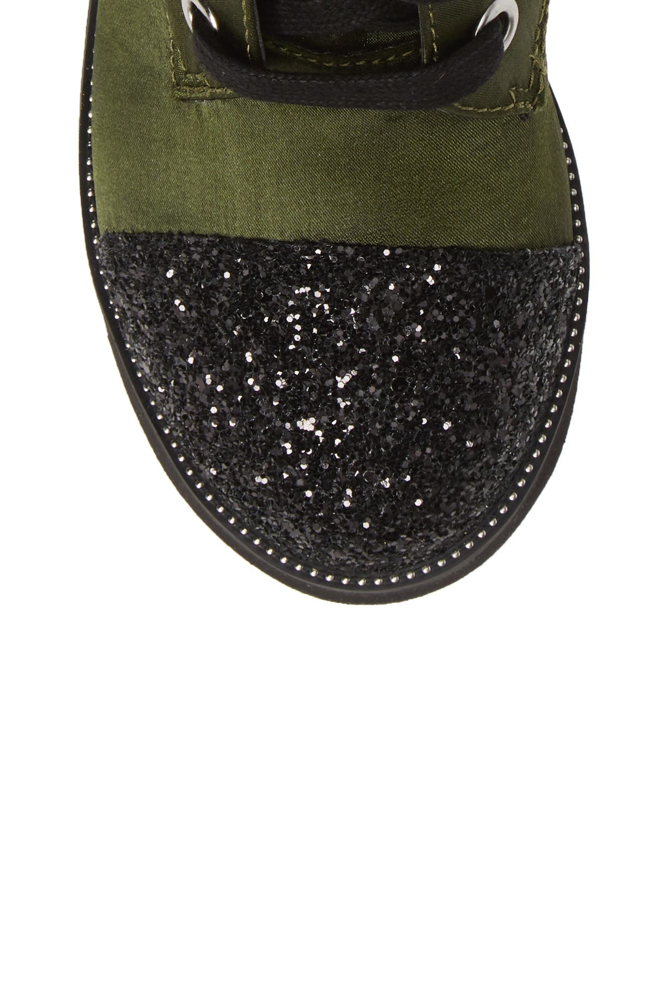Glitter Combat Boot,                             Alternate thumbnail 5, color,                             OLIVE SATIN