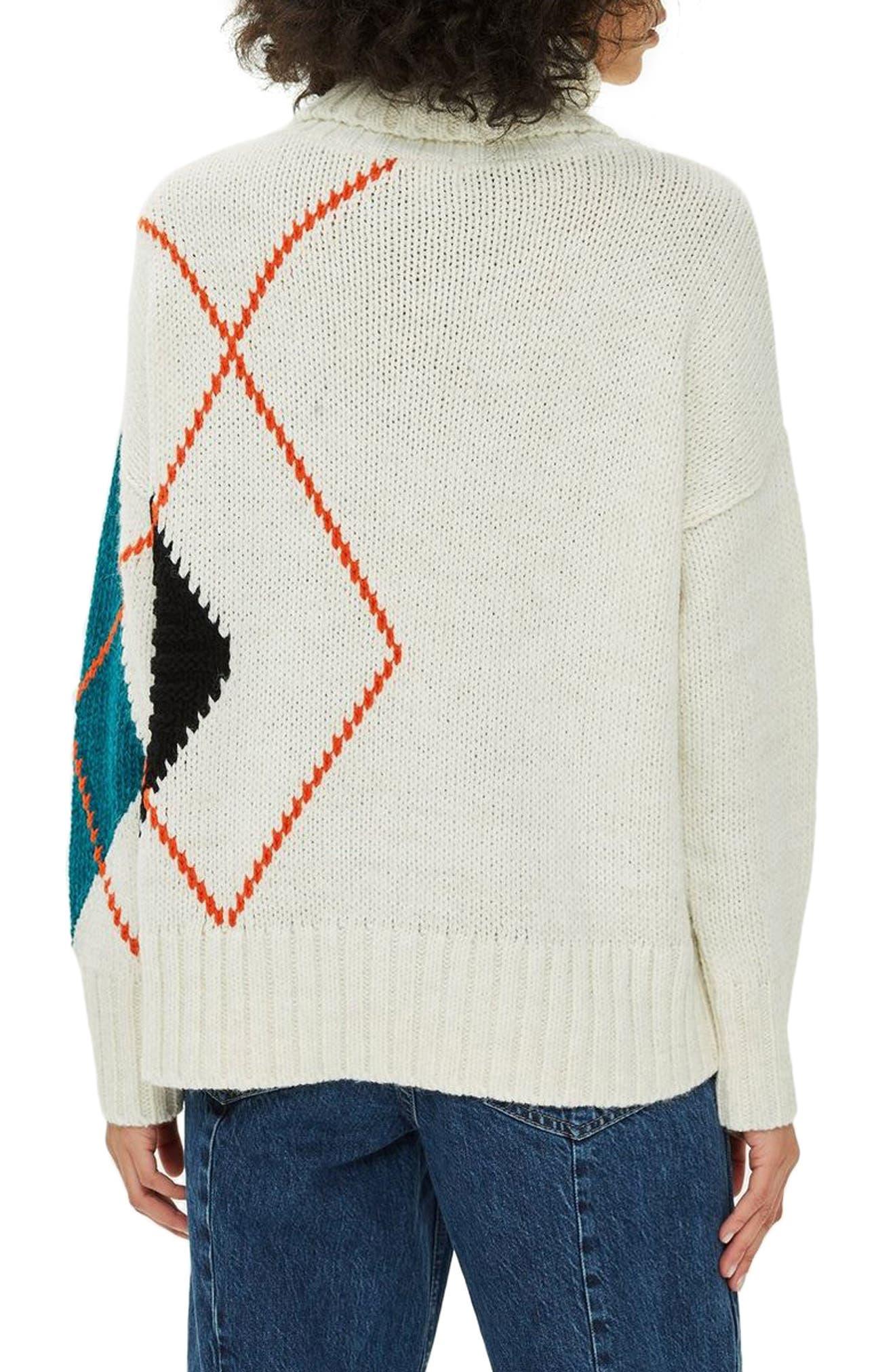 Oversized Argyle Turtleneck Sweater,                             Alternate thumbnail 2, color,                             IVORY MULTI