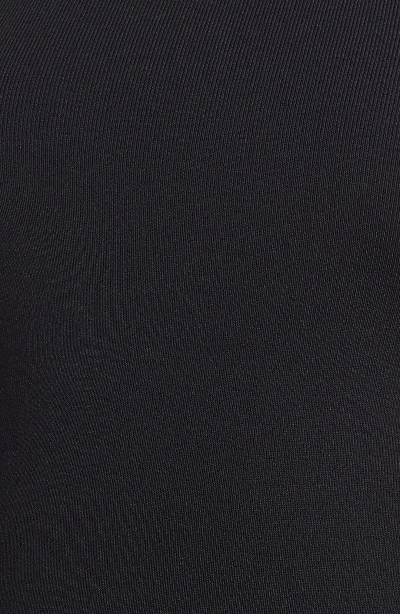 Mesh Stripe Sheath Dress,                             Alternate thumbnail 6, color,                             BLACK