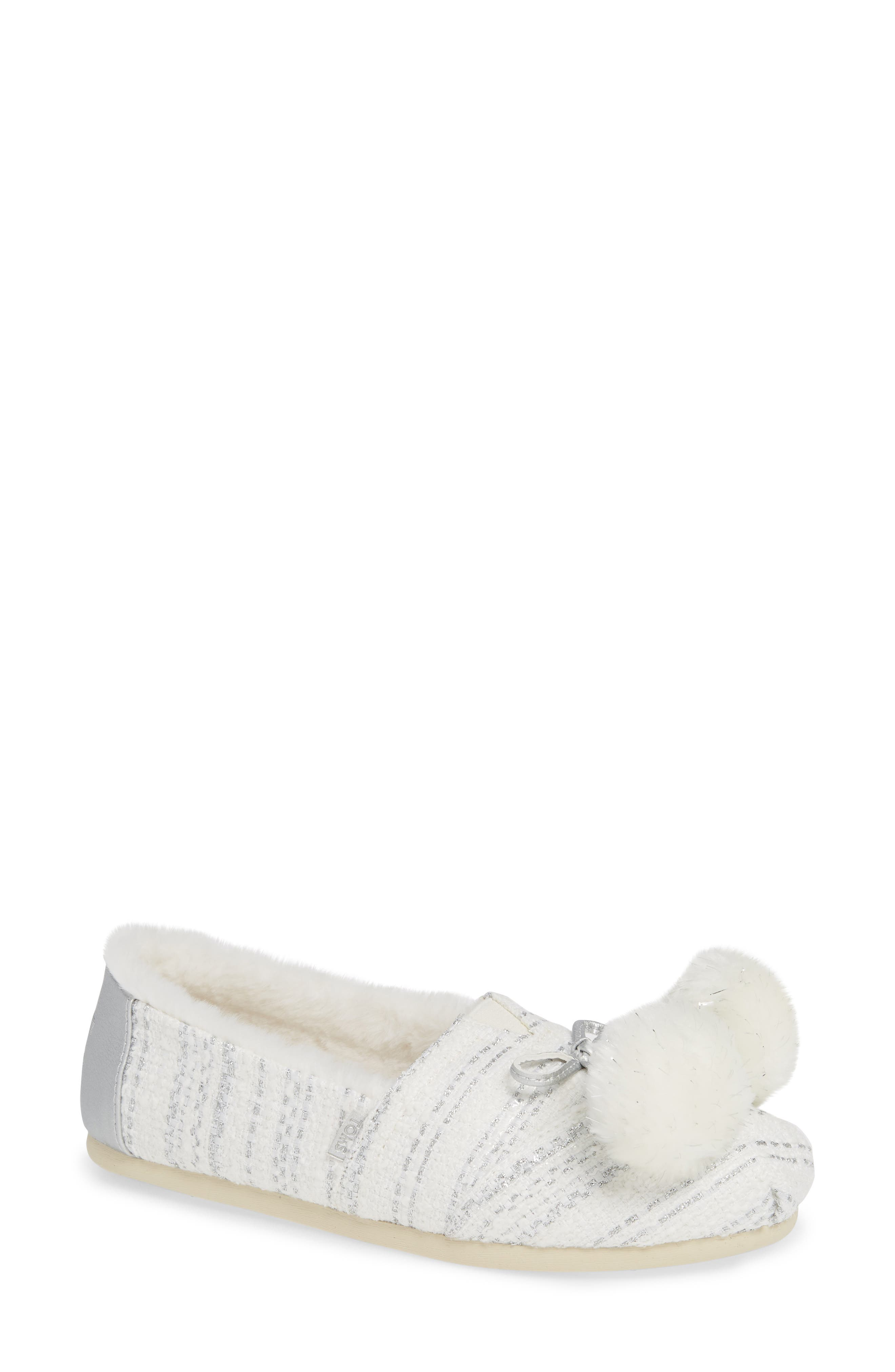 Alpargata Slip-On with Faux Fur Lining & Pompoms, Main, color, SILVER FABRIC