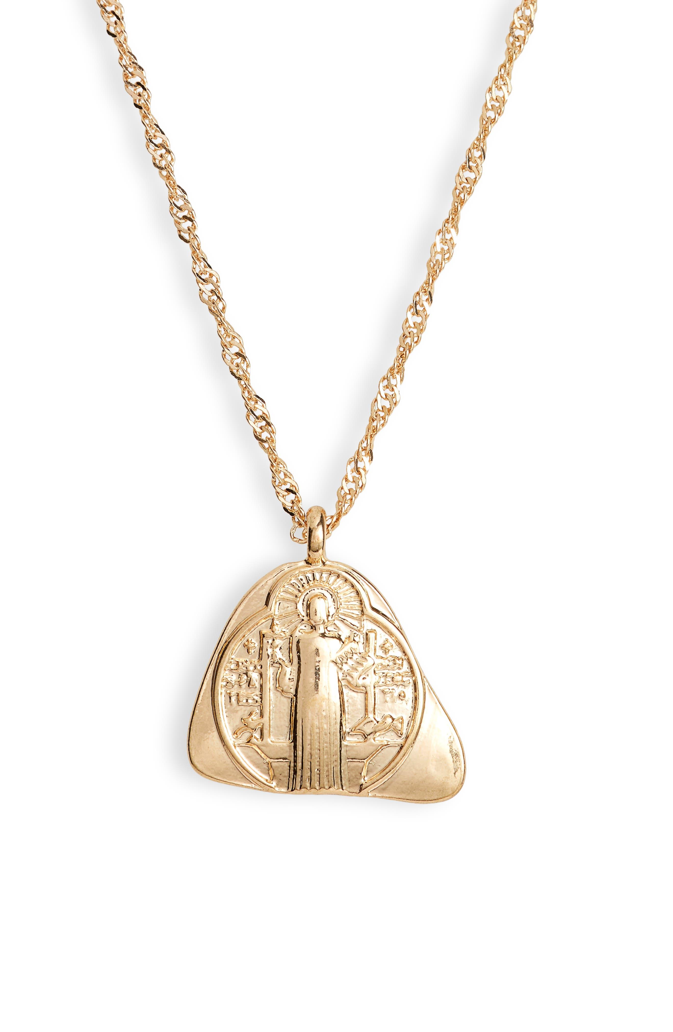 Charm Pendant Necklace, Main, color, GOLD