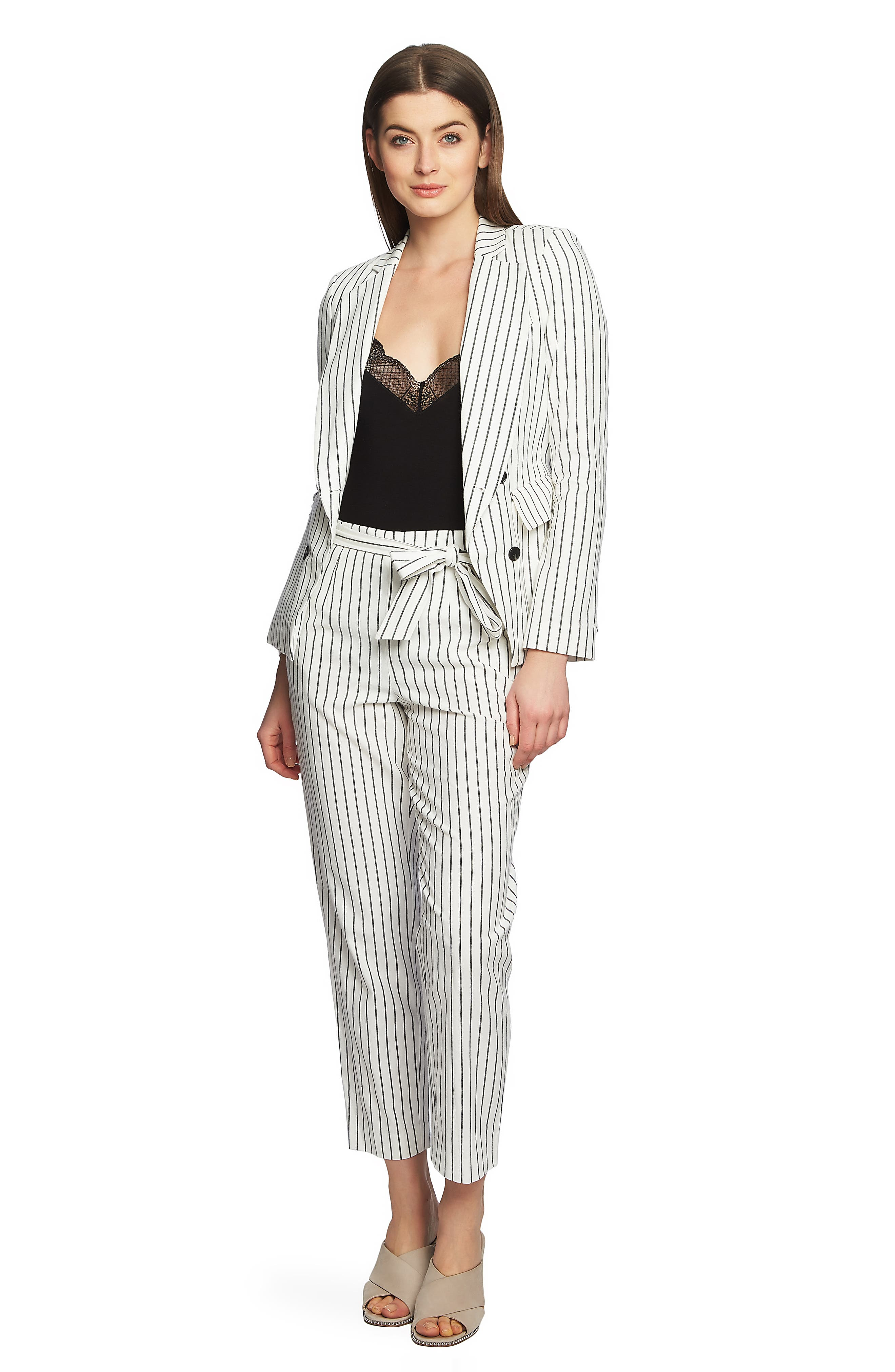 Double Breasted Stripe Cotton Blazer,                             Alternate thumbnail 3, color,                             SOFT ECRU