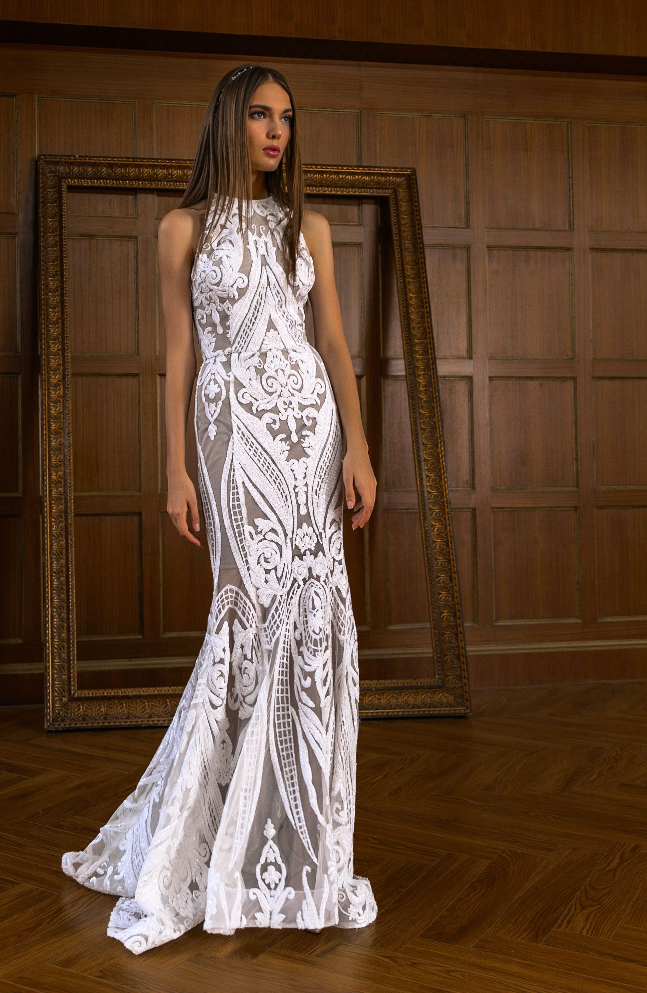Ester Halter Mermaid Gown,                             Alternate thumbnail 6, color,                             WHITE