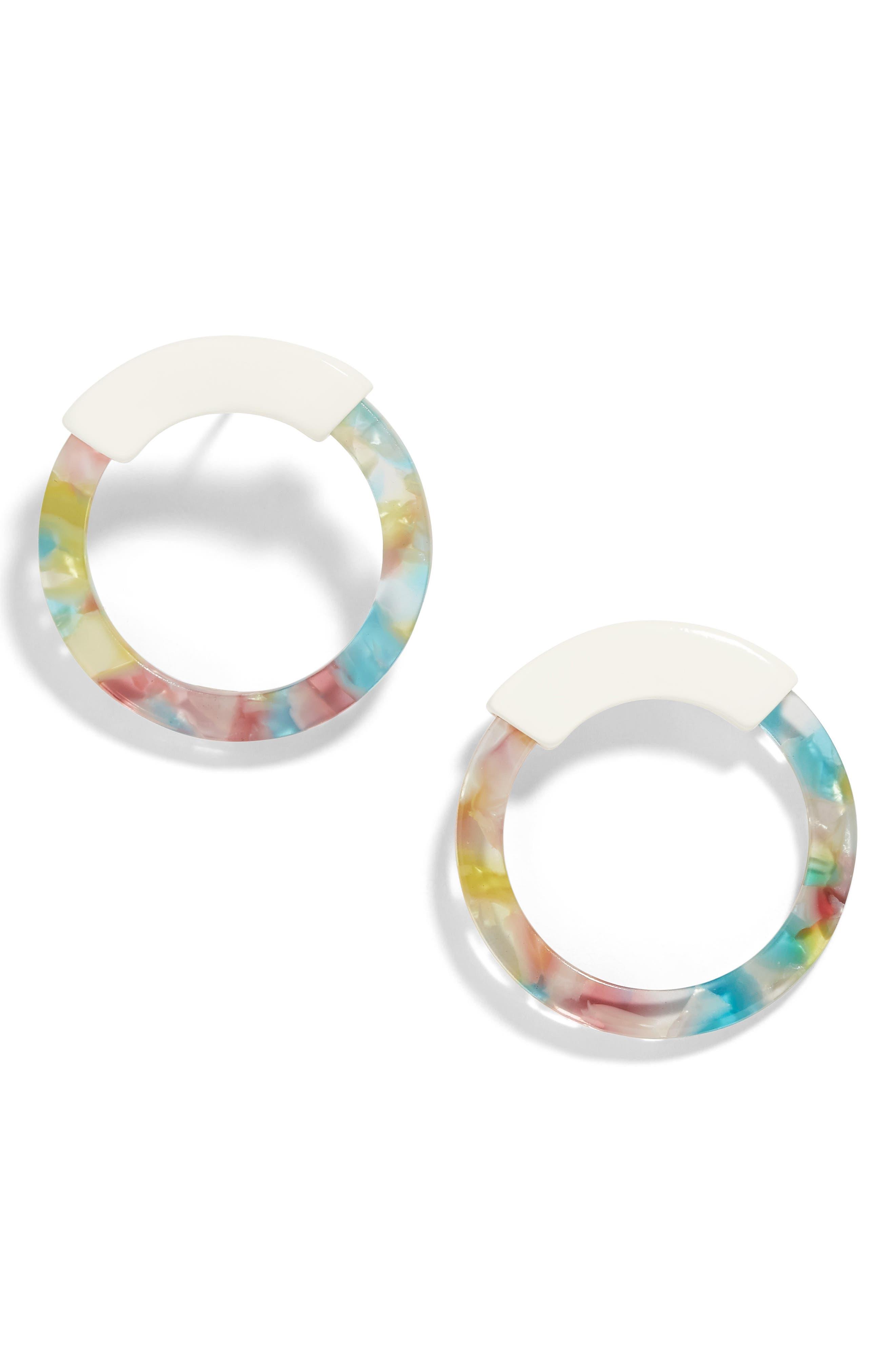 DeAnn Resin Hoop Earrings,                         Main,                         color, MULTI