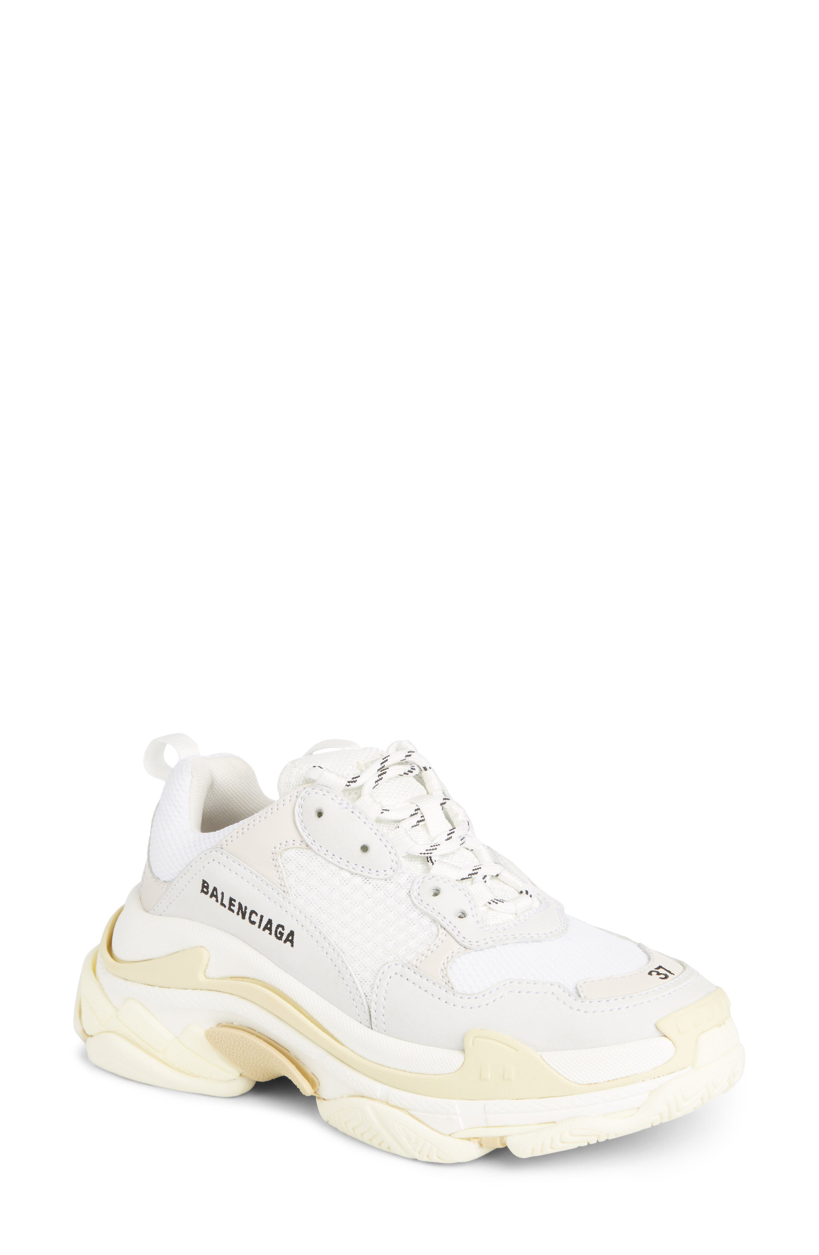 Triple S Low Top Sneaker,                         Main,                         color, WHITE/ CREAM