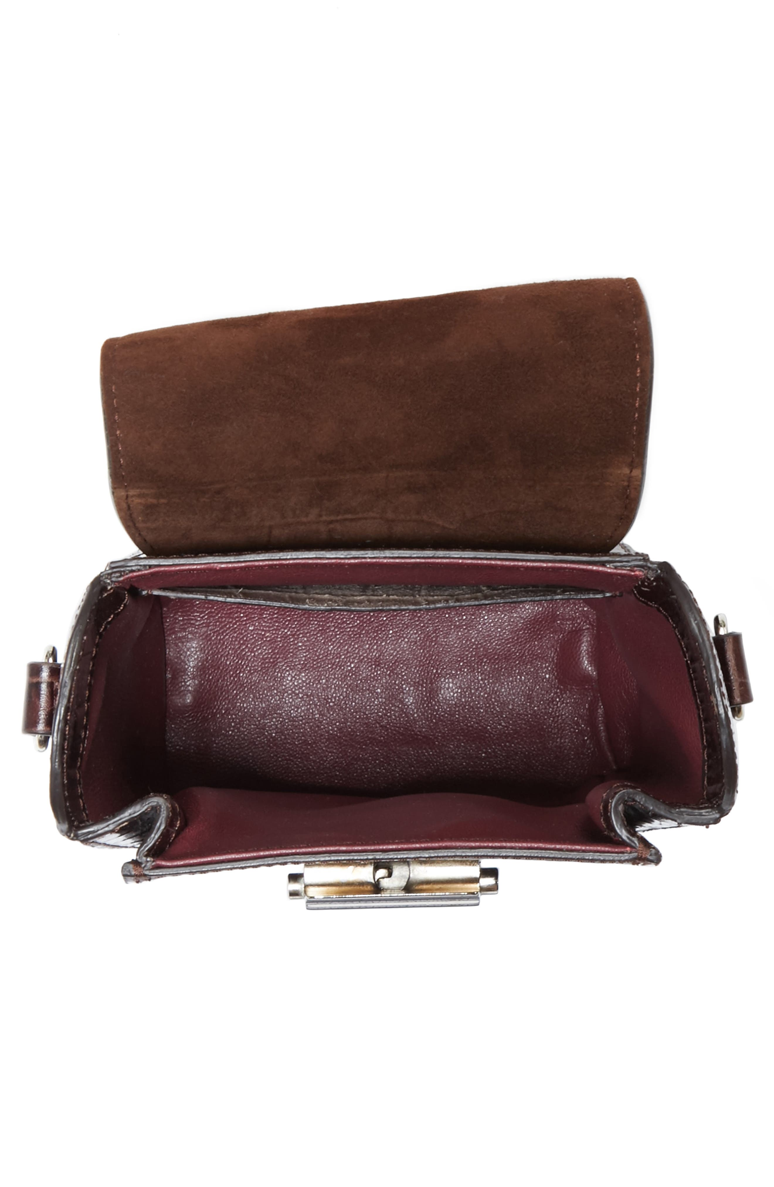 Small Croc Embossed Leather Camera Bag,                             Alternate thumbnail 4, color,                             200