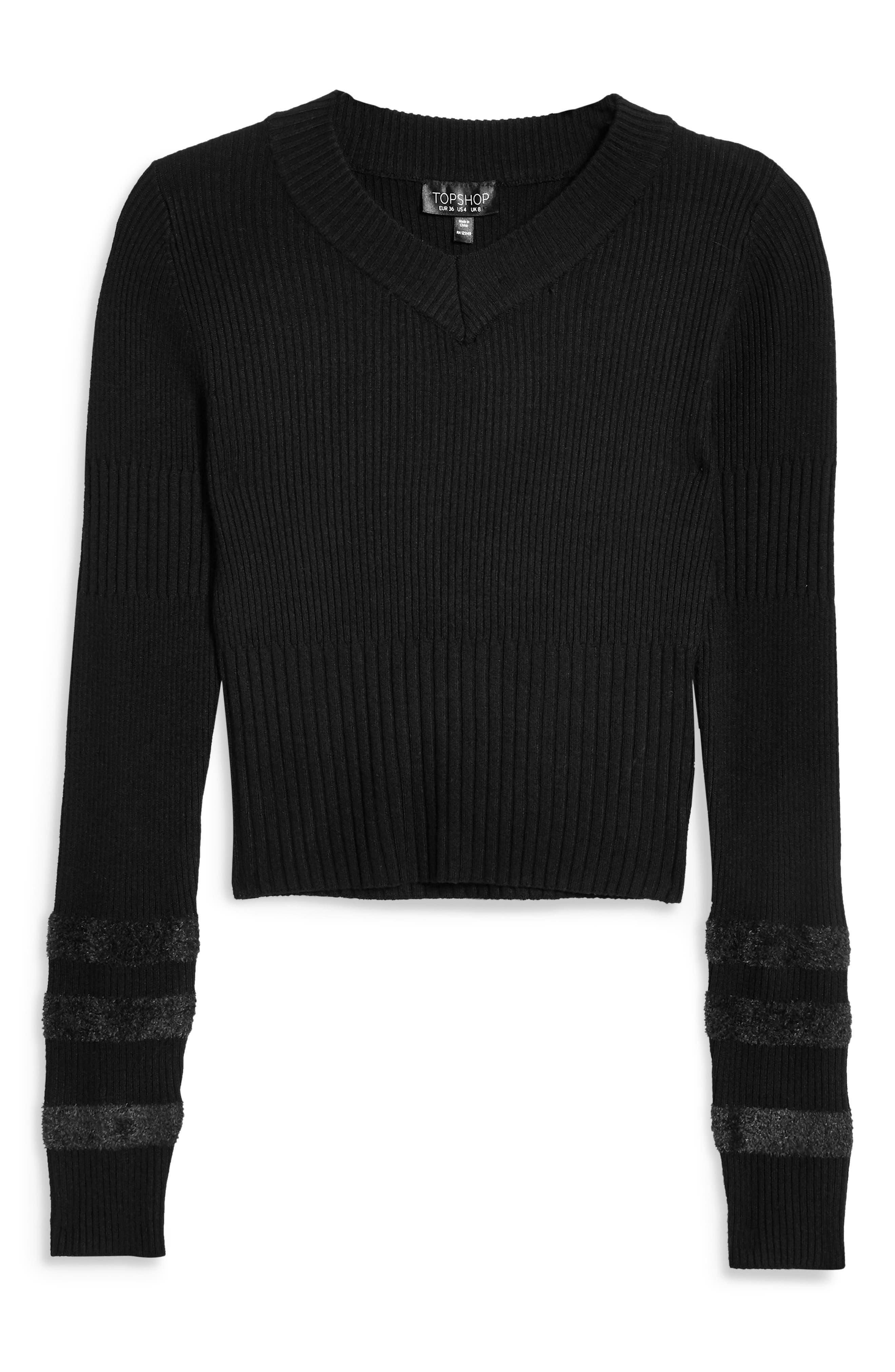 Bouclé Sleeve Sweater,                             Alternate thumbnail 3, color,                             BLACK