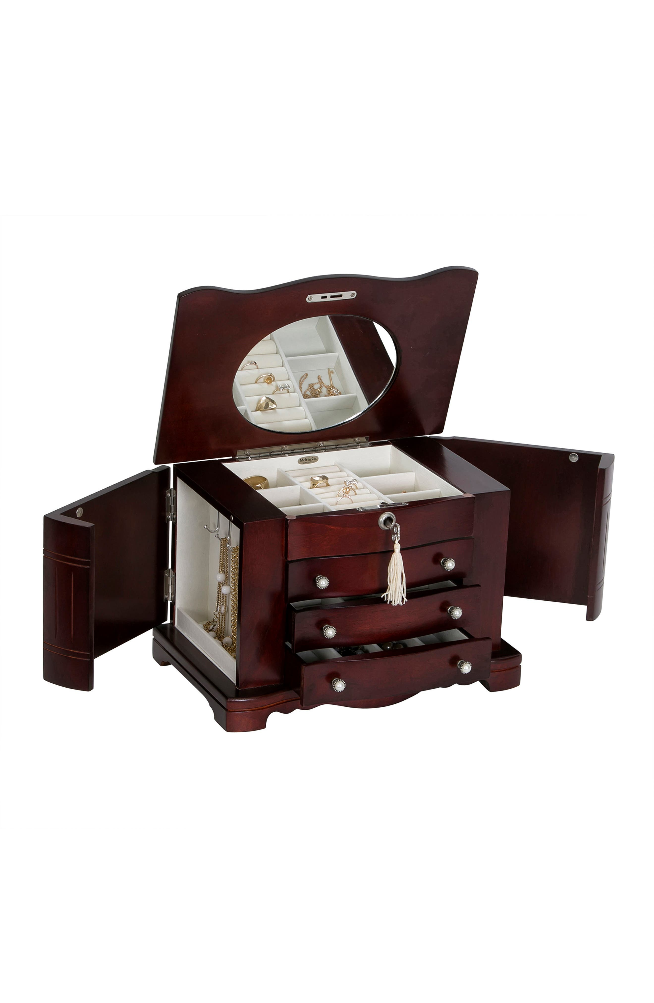 Rita Locking Jewelry Box,                             Alternate thumbnail 2, color,                             BROWN