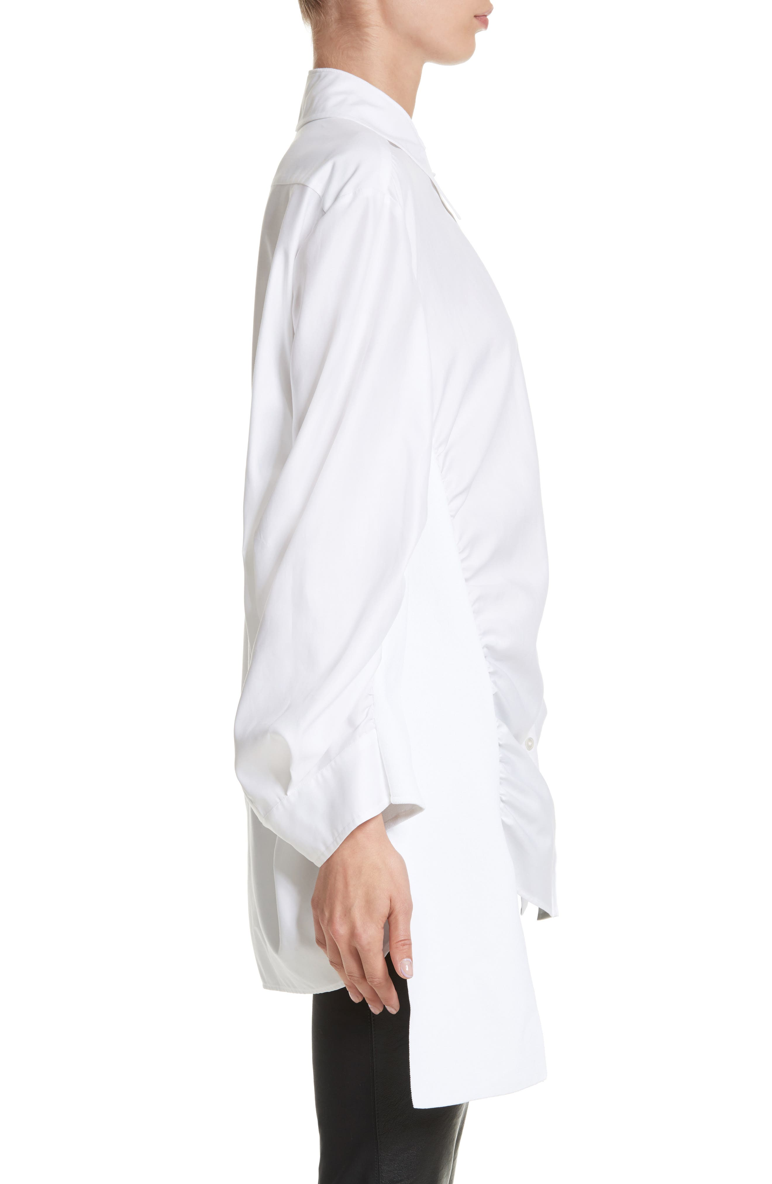 Tape Detail Cotton Shirt,                             Alternate thumbnail 3, color,                             100