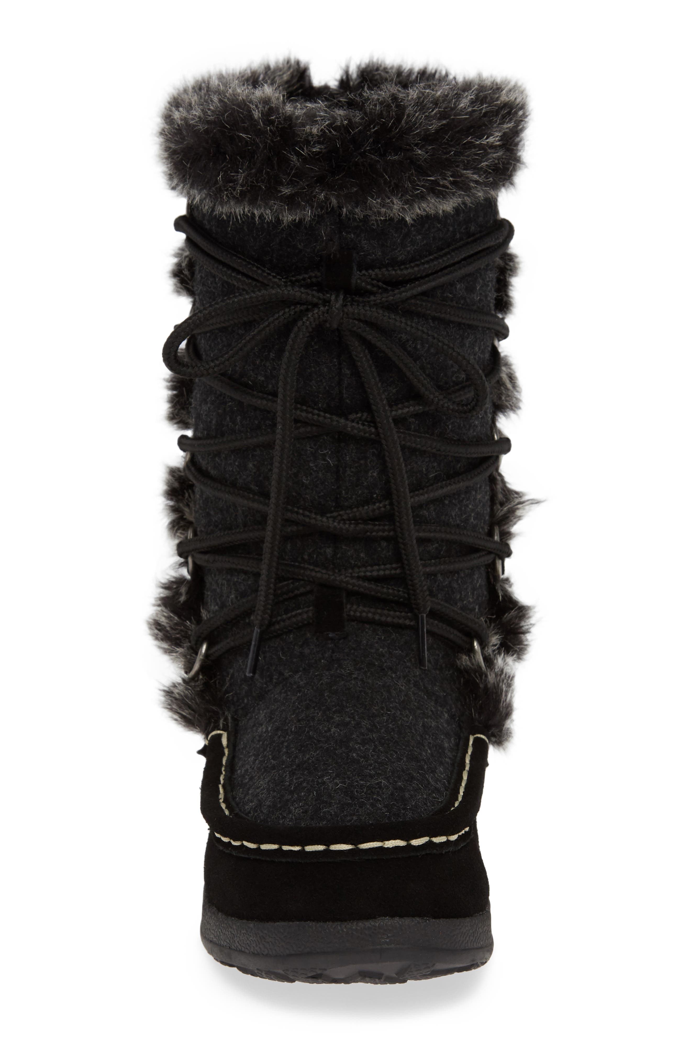 Lace Up Bootie,                             Alternate thumbnail 4, color,                             BLACK WOOL