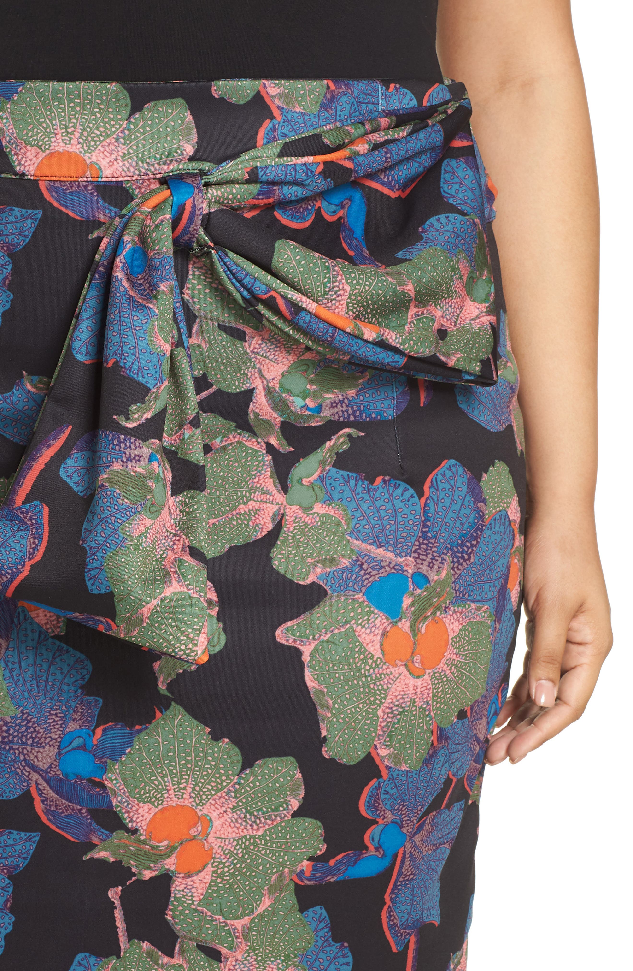 Ivy Floral Bow Detail Pencil Skirt,                             Alternate thumbnail 4, color,                             300