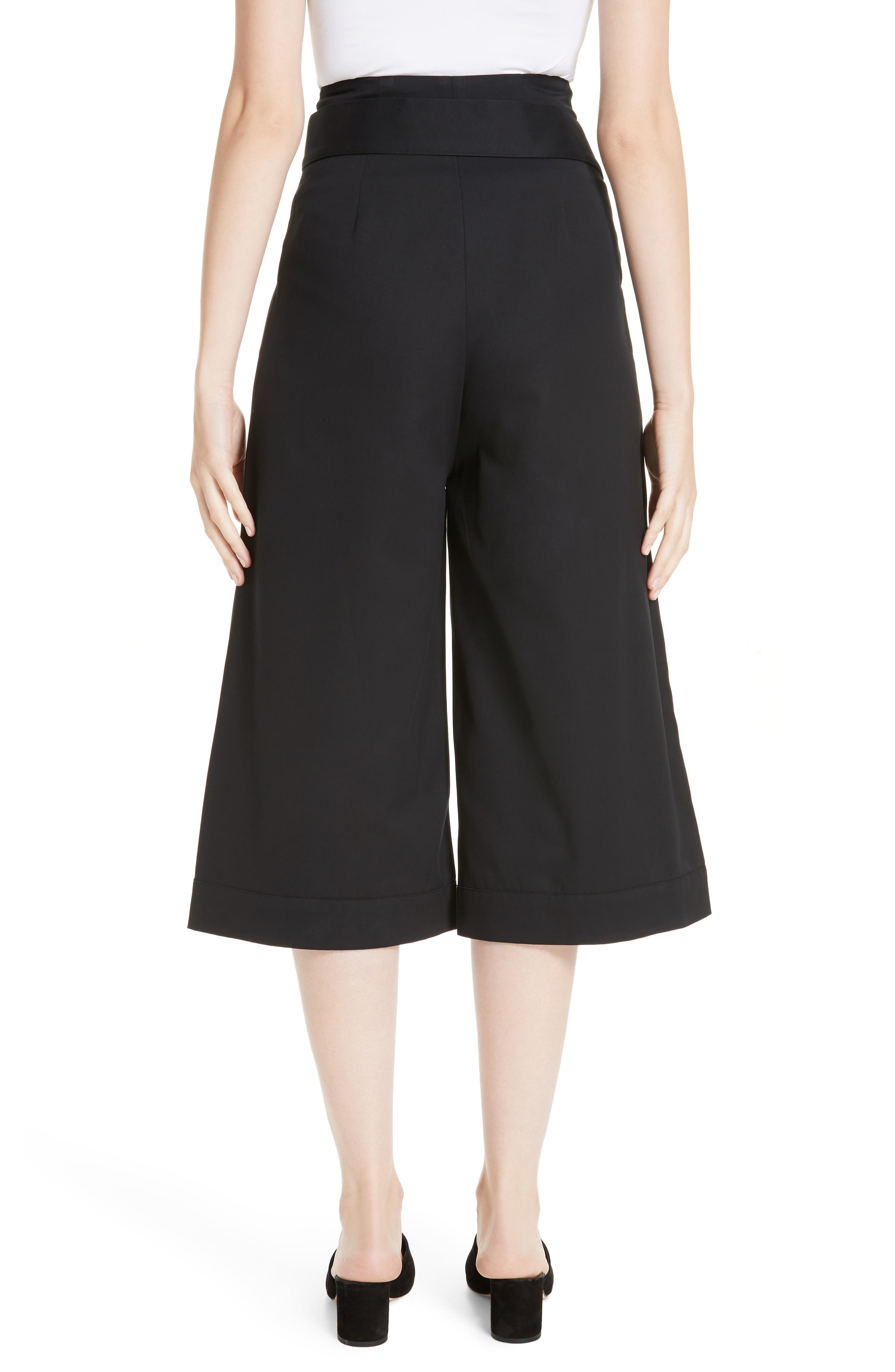 Palmer Harding Distorted Culottes,                             Alternate thumbnail 2, color,                             BLACK COTTON TWILL
