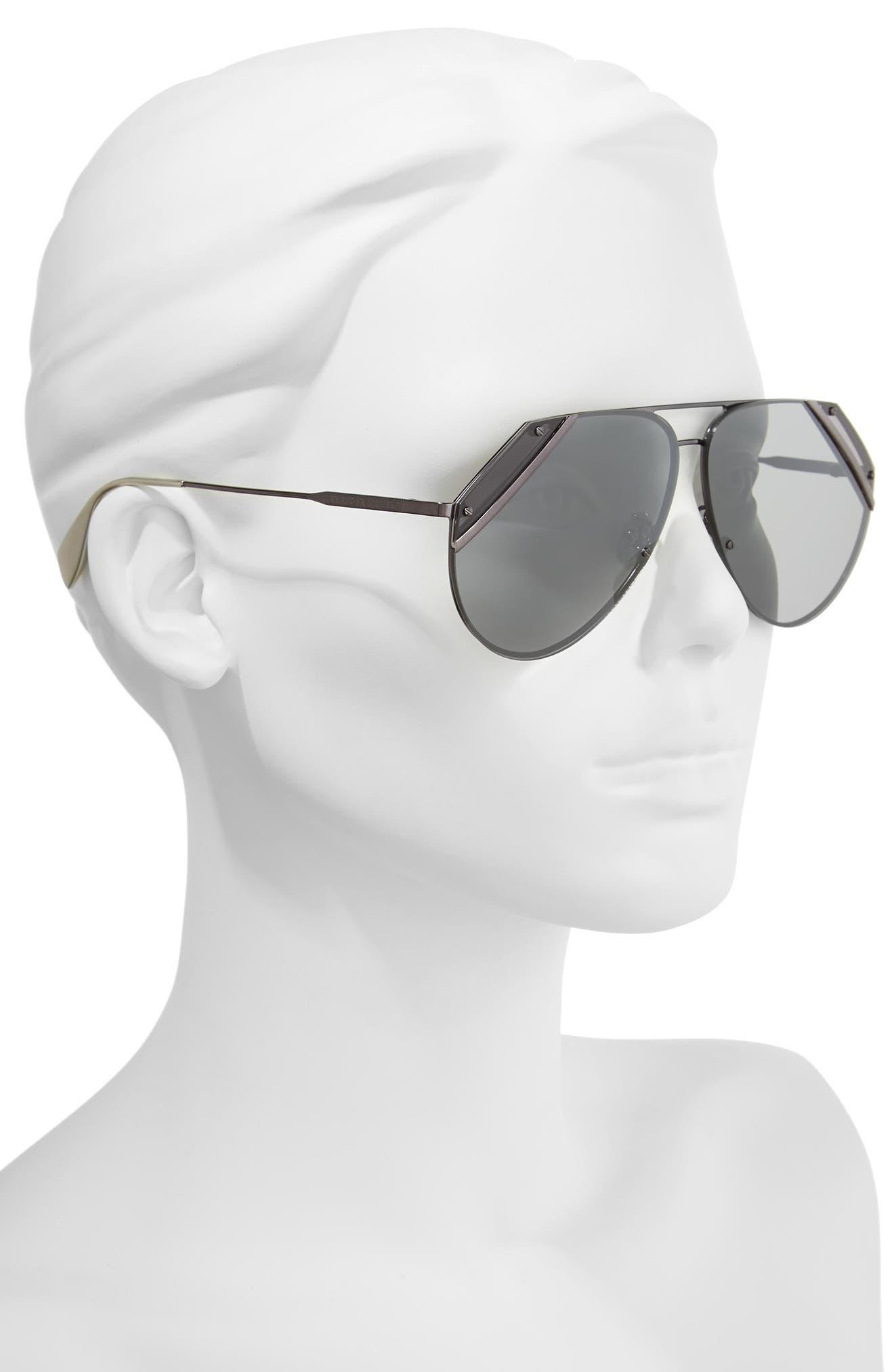 65mm Snip Frame Aviator Sunglasses,                             Alternate thumbnail 4, color,