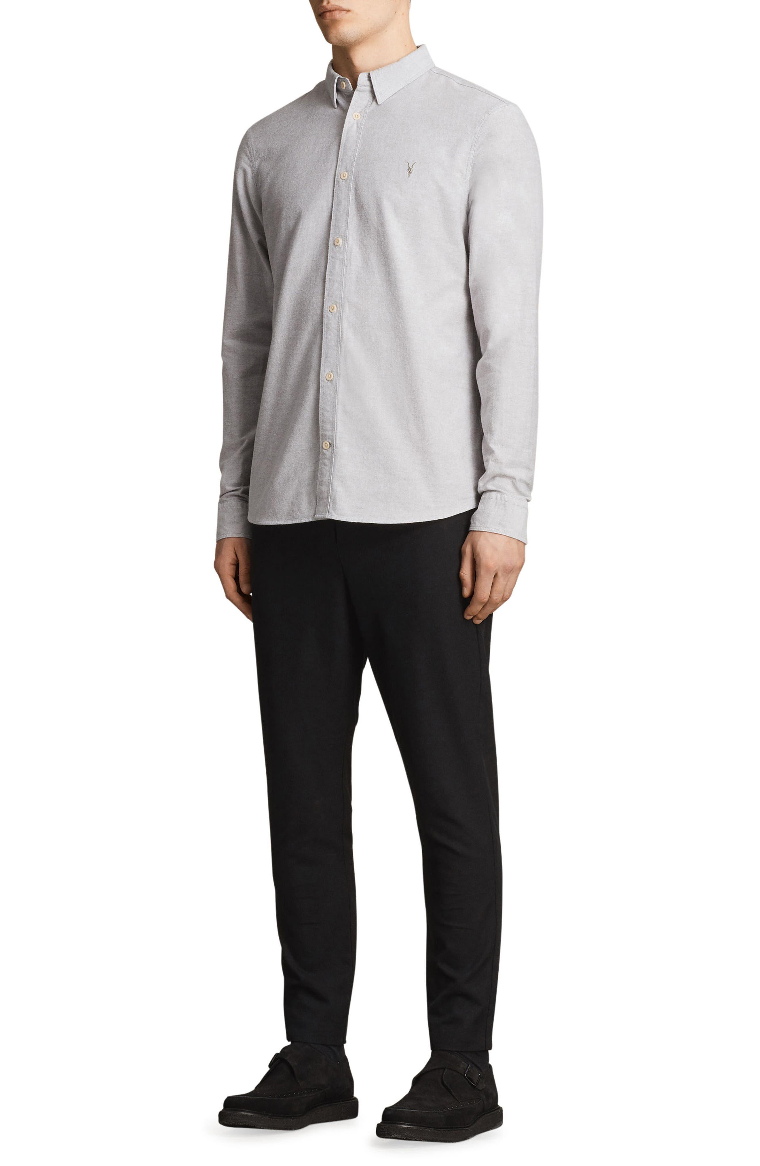 Huntington Regular Fit Sport Shirt,                             Alternate thumbnail 5, color,                             DARK GULL GREY