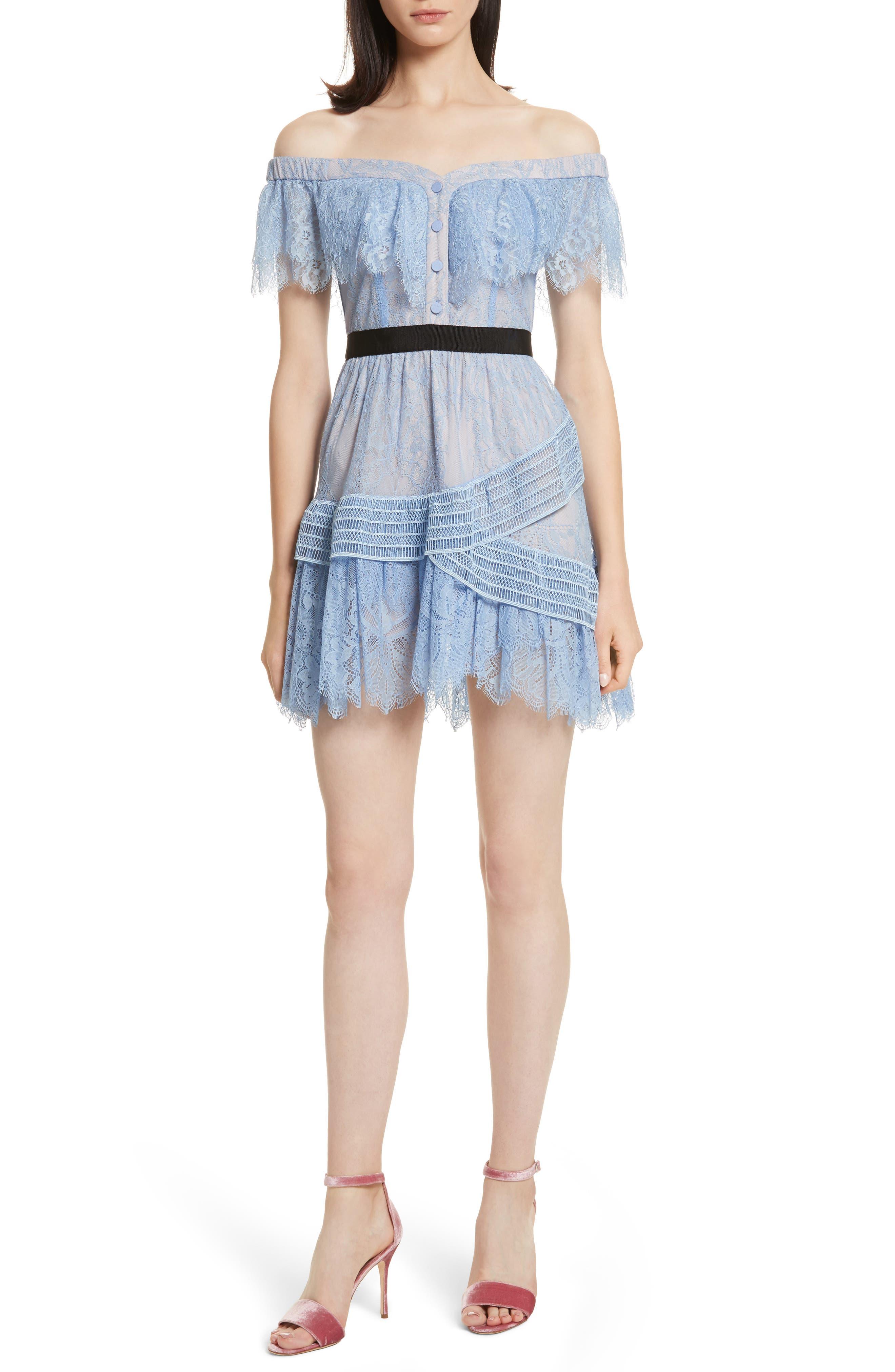 Lace Off the Shoulder Minidress,                             Main thumbnail 1, color,