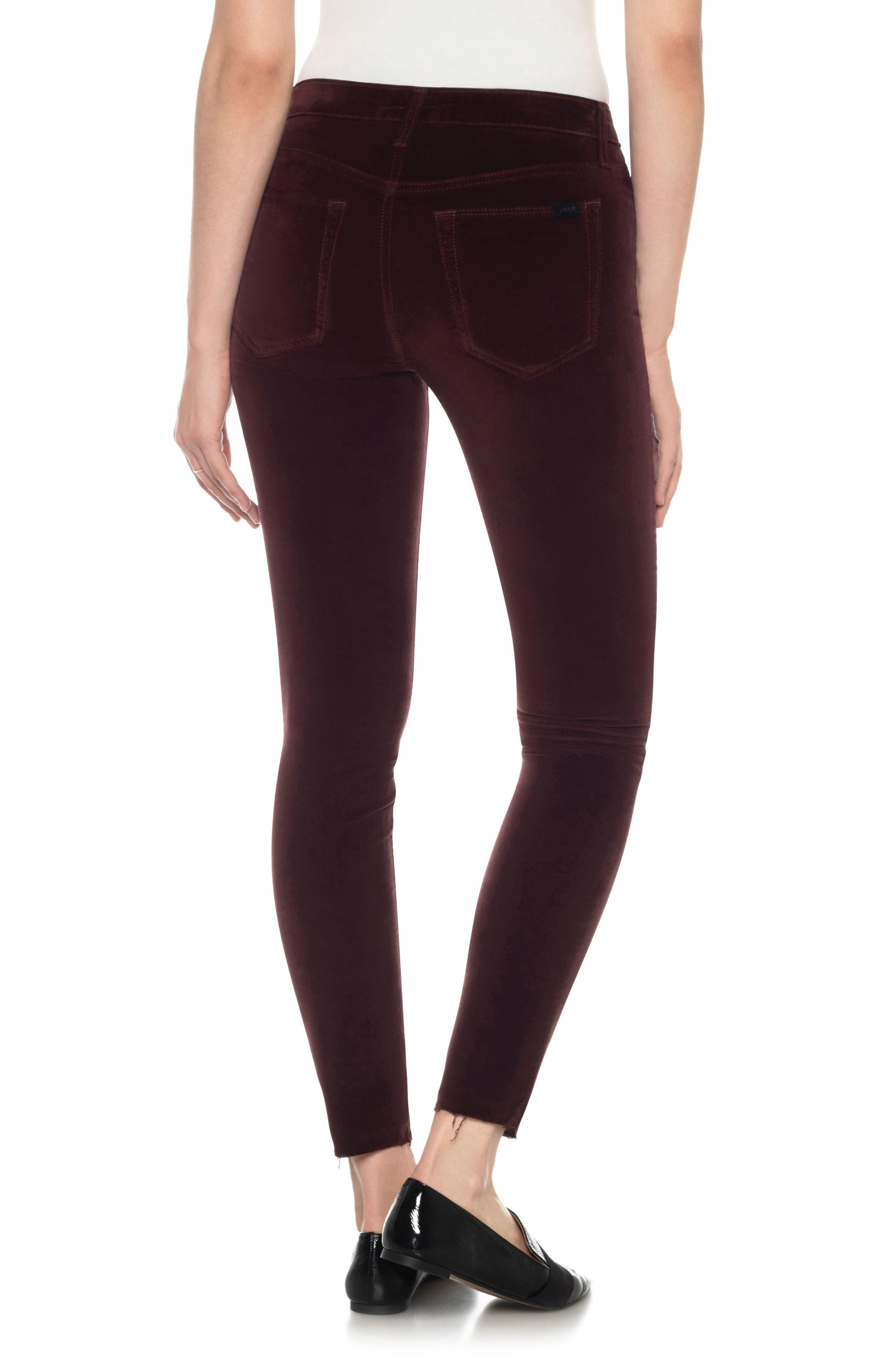 Icon Velvet Ankle Skinny Pants,                             Alternate thumbnail 7, color,