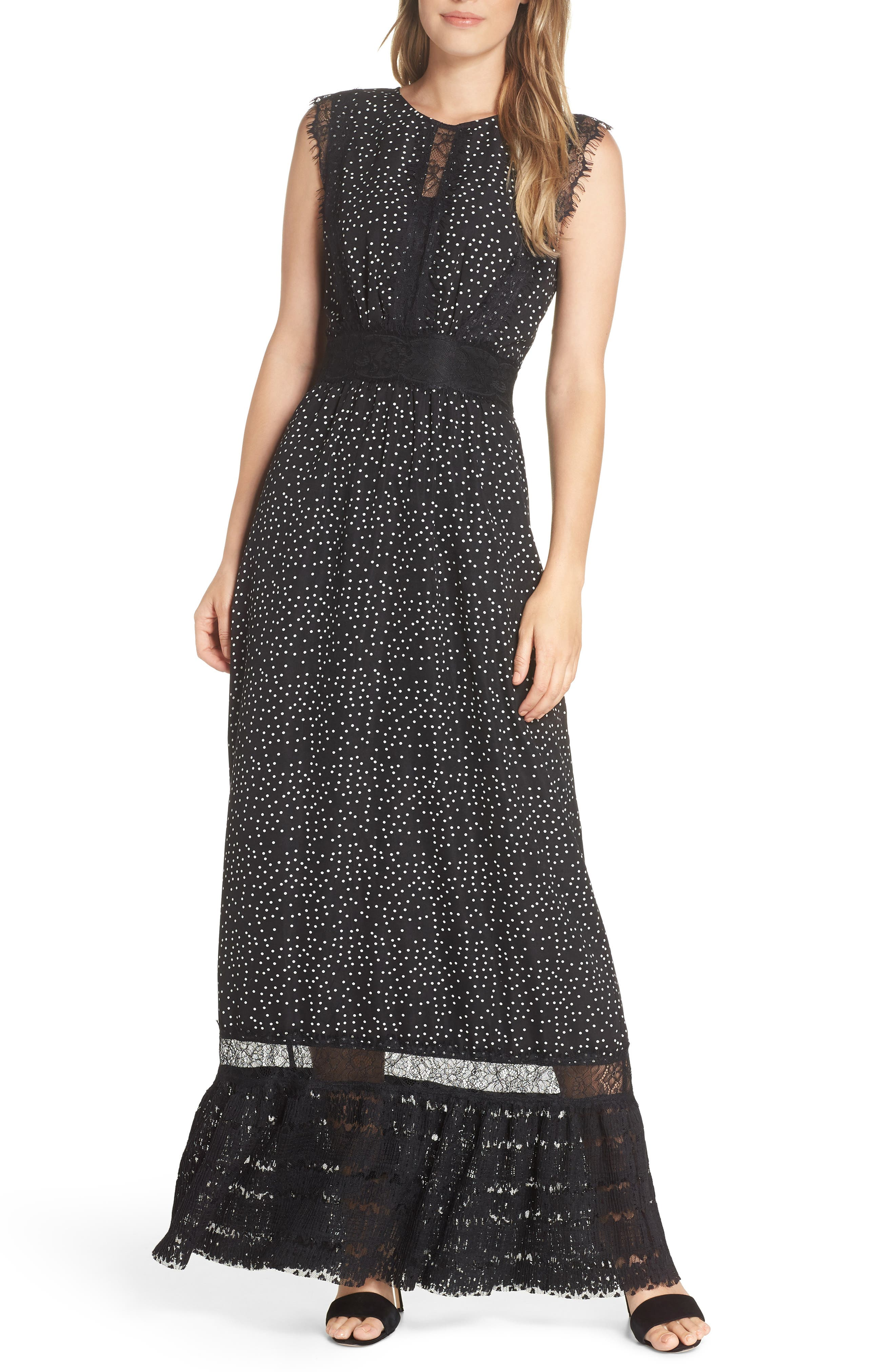 ADELYN RAE Georgette Maxi Dress in Black-White
