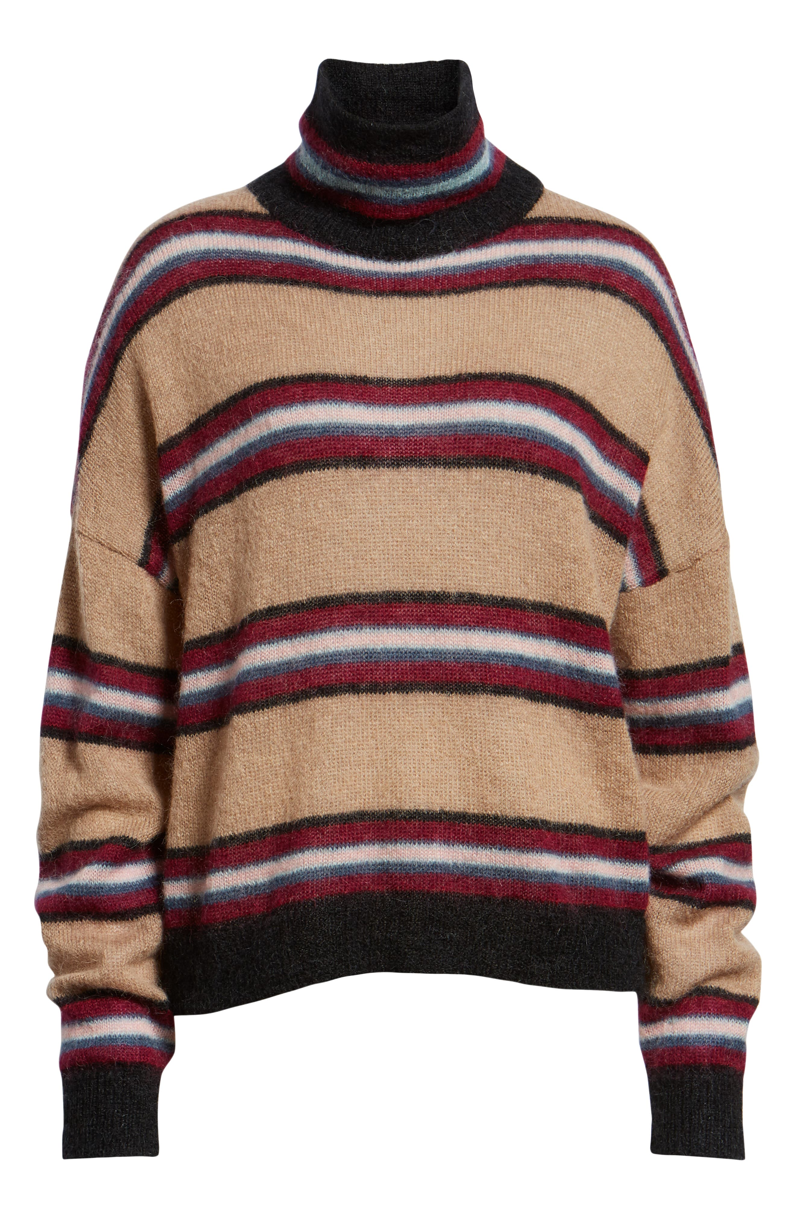 Ella Stripe Turtleneck Sweater,                             Alternate thumbnail 6, color,                             250