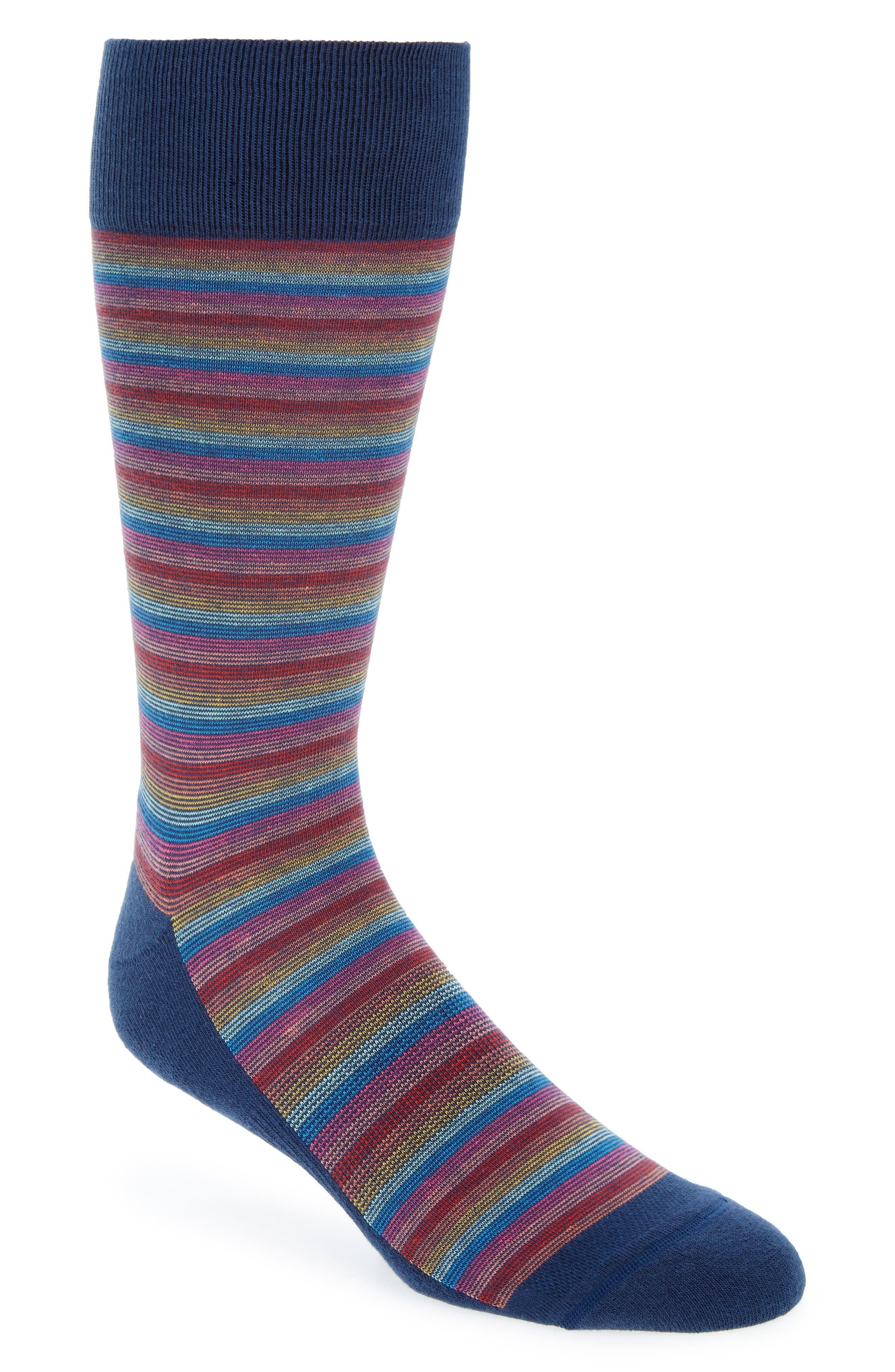 Gradient Feeder Stripe Sock,                         Main,                         color, NAVY/ RED