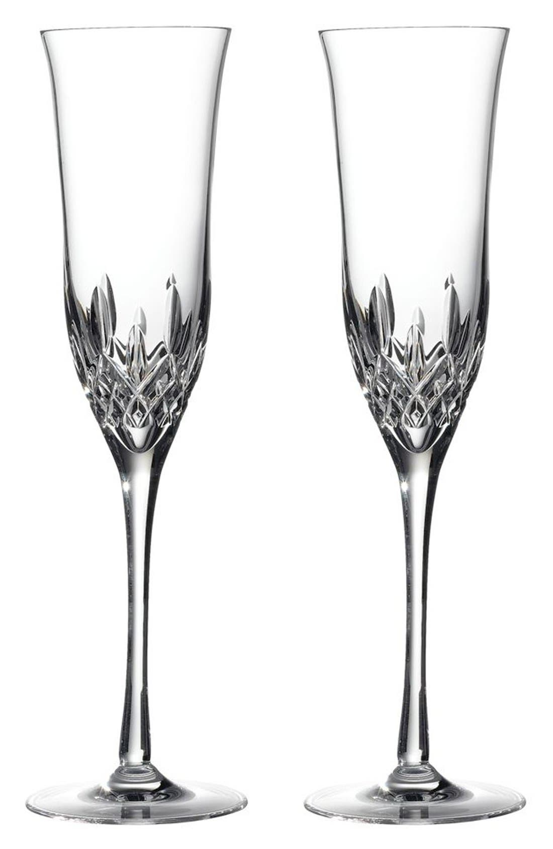 'Lismore Essence' Lead Crystal Champagne Flutes,                             Main thumbnail 1, color,                             100