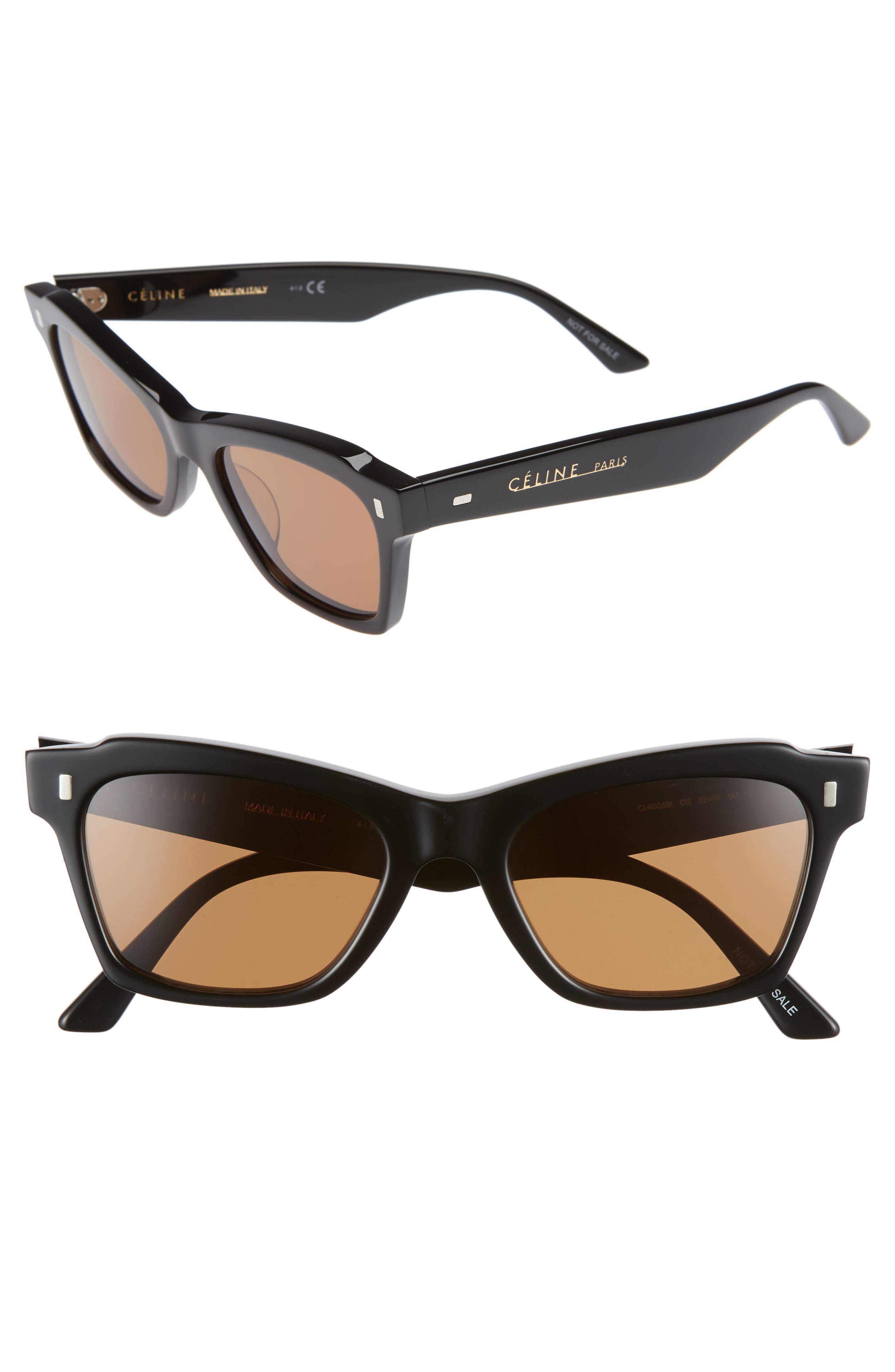 52mm Rectangle Cat Eye Sunglasses,                         Main,                         color, BLACK