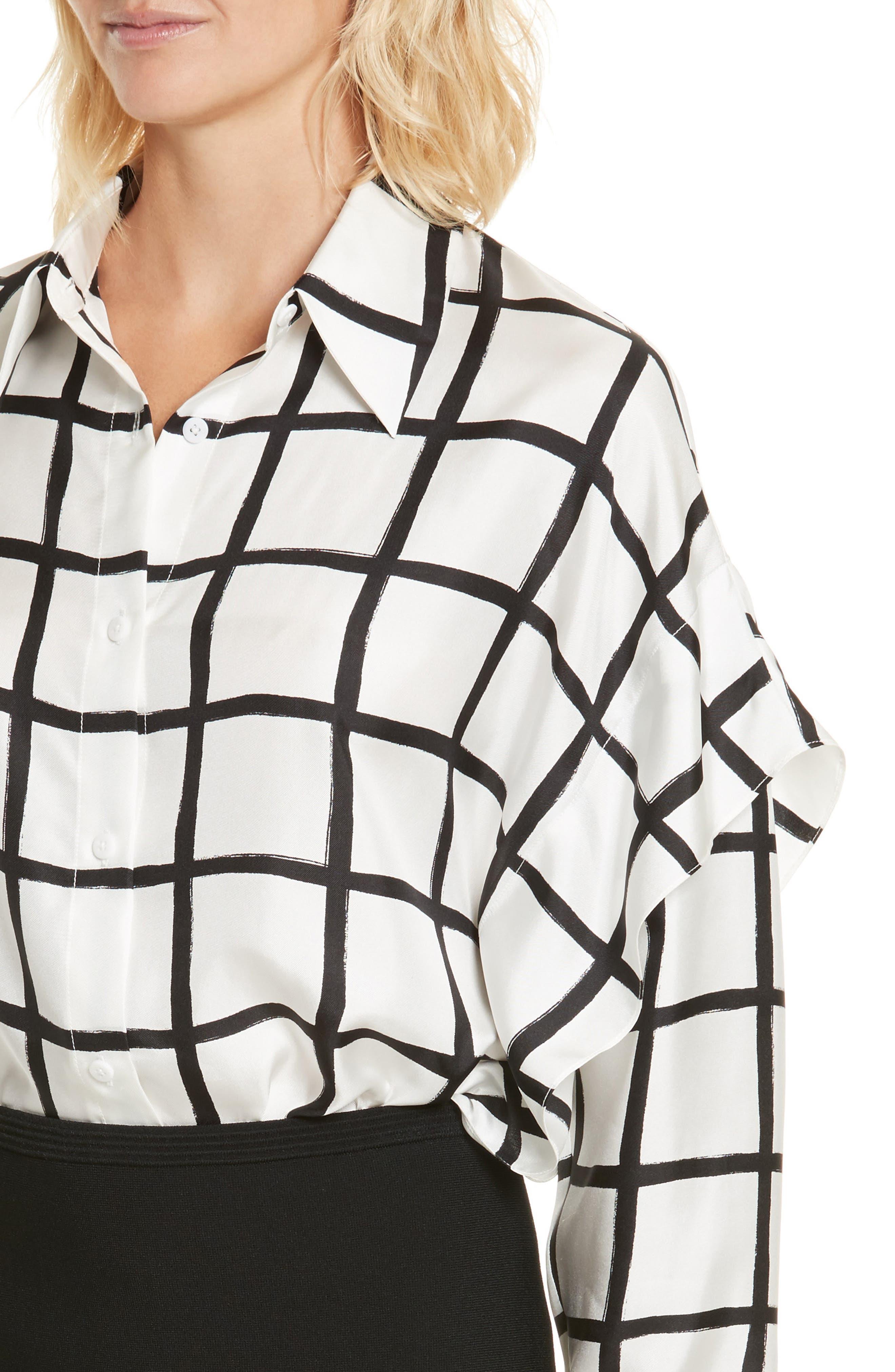 Diane von Furstenberg Windowpane Plaid Button Down Silk Shirt,                             Alternate thumbnail 4, color,                             178
