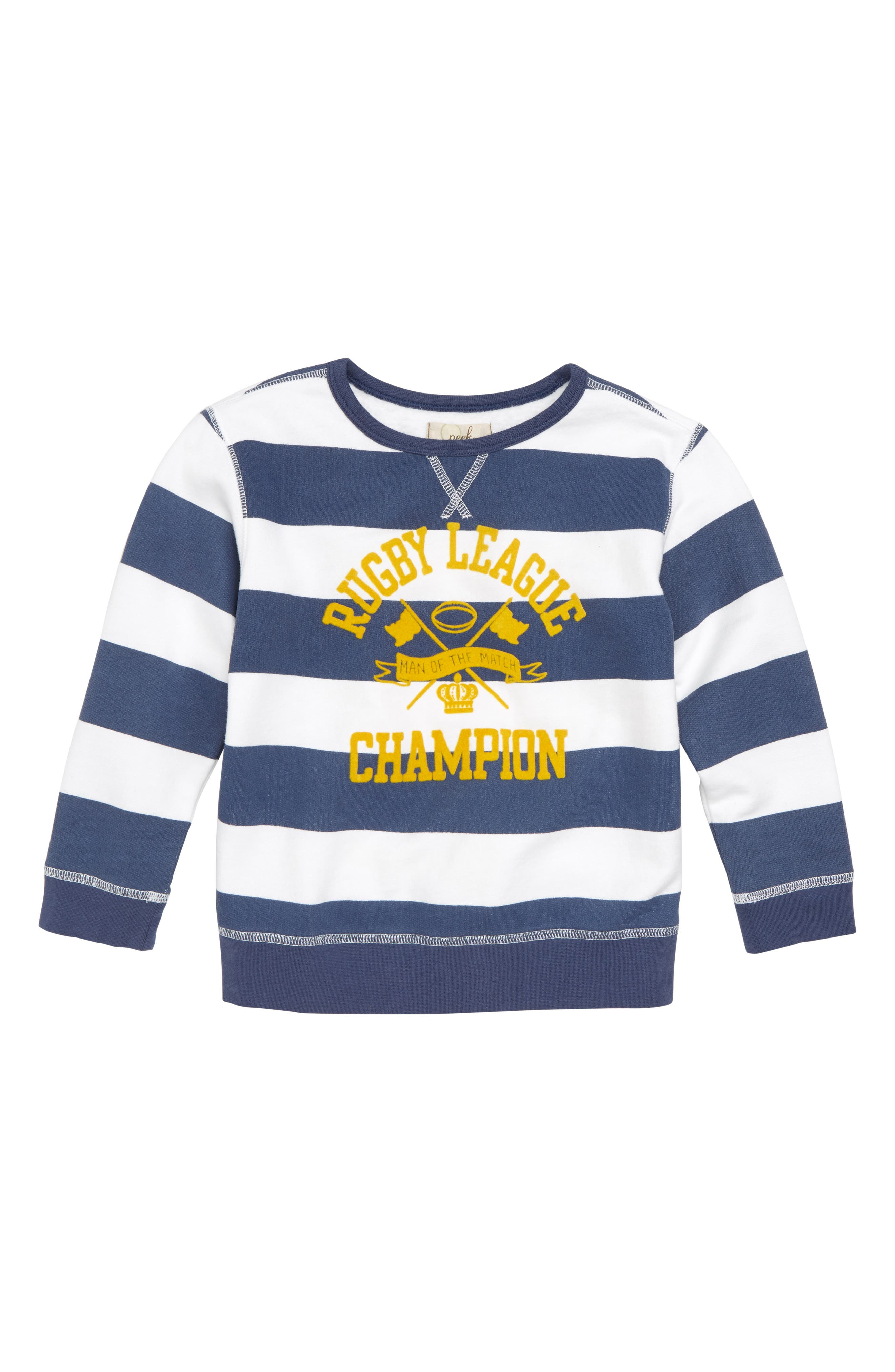 Rugby Stripe Crewneck Pullover,                         Main,                         color, 100