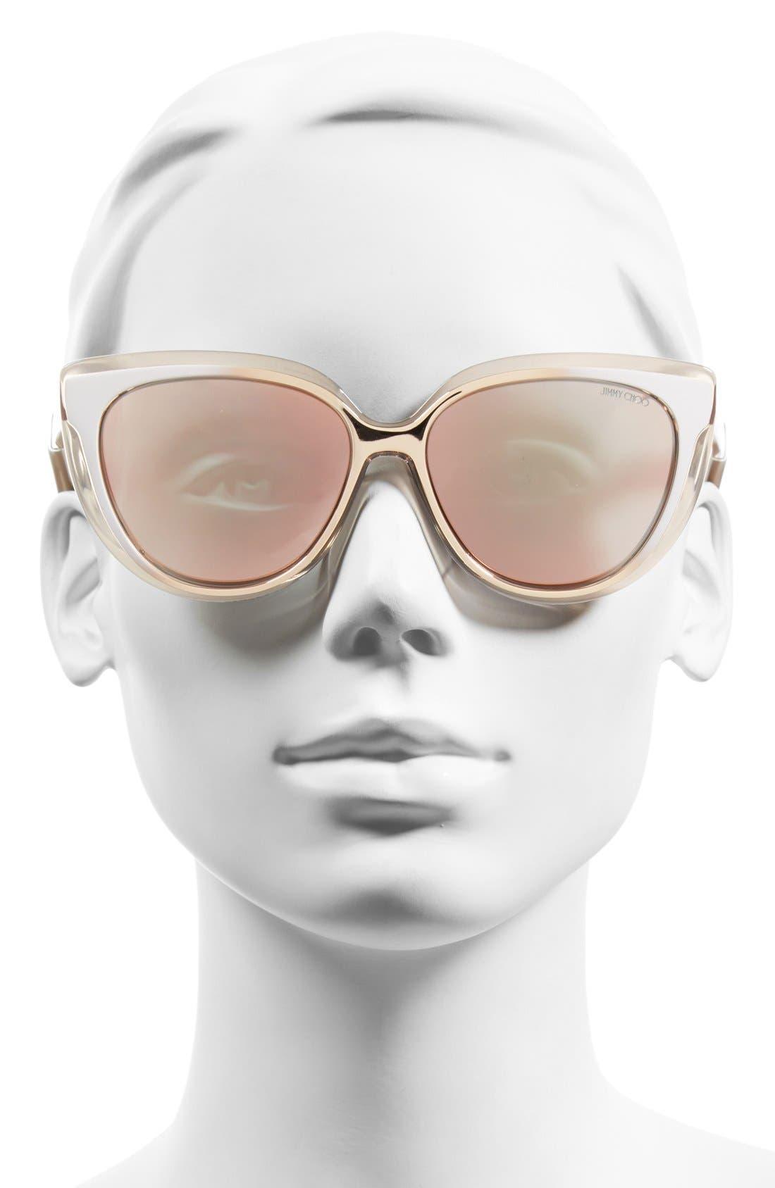 'Cindy' 57mm Retro Sunglasses,                             Alternate thumbnail 7, color,